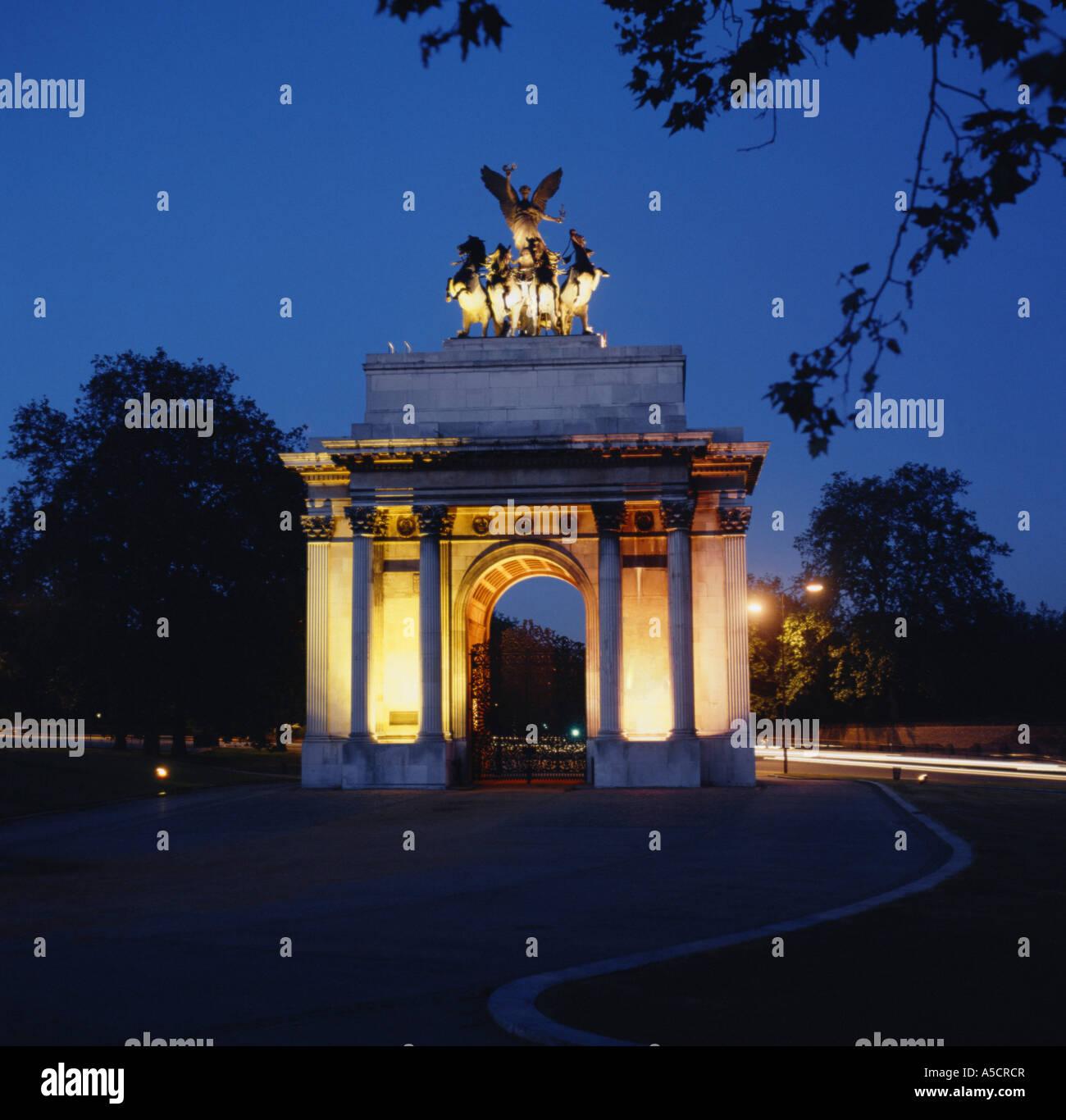 Wellington Arch, Hyde Park Corner, London, England, UK - Stock Image