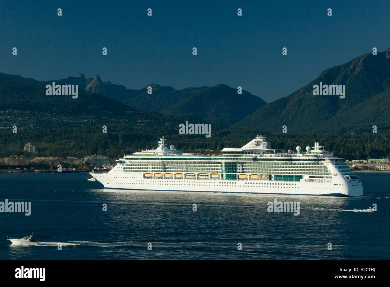 Scenic vews of Royal Caribbean Cruise Lines Serenade of the Seas in the port of Vancouver BC Canada - Stock Image