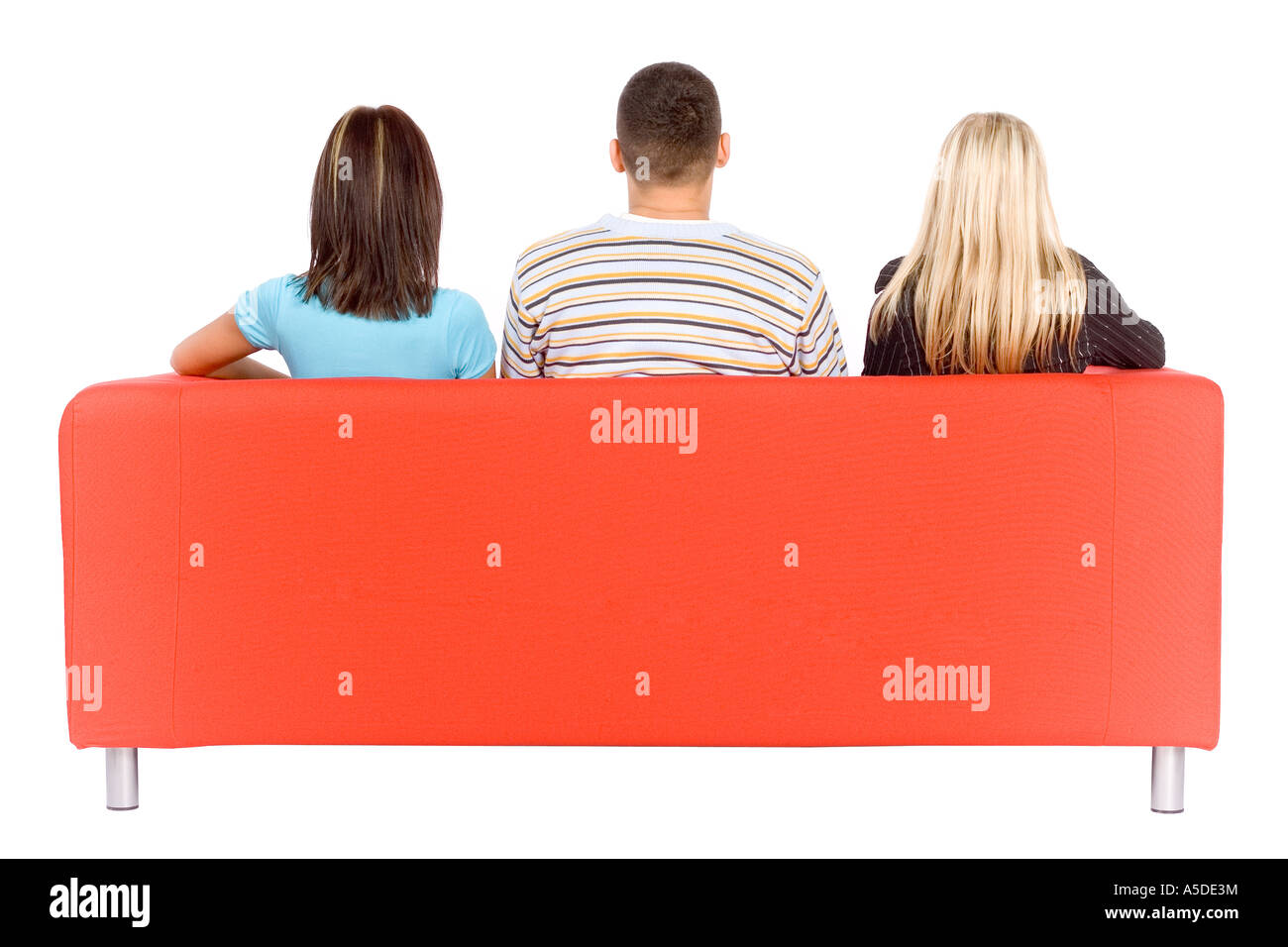 Miraculous Back Of Man And Two Women Sitting On A Red Couch Isolated On Ocoug Best Dining Table And Chair Ideas Images Ocougorg