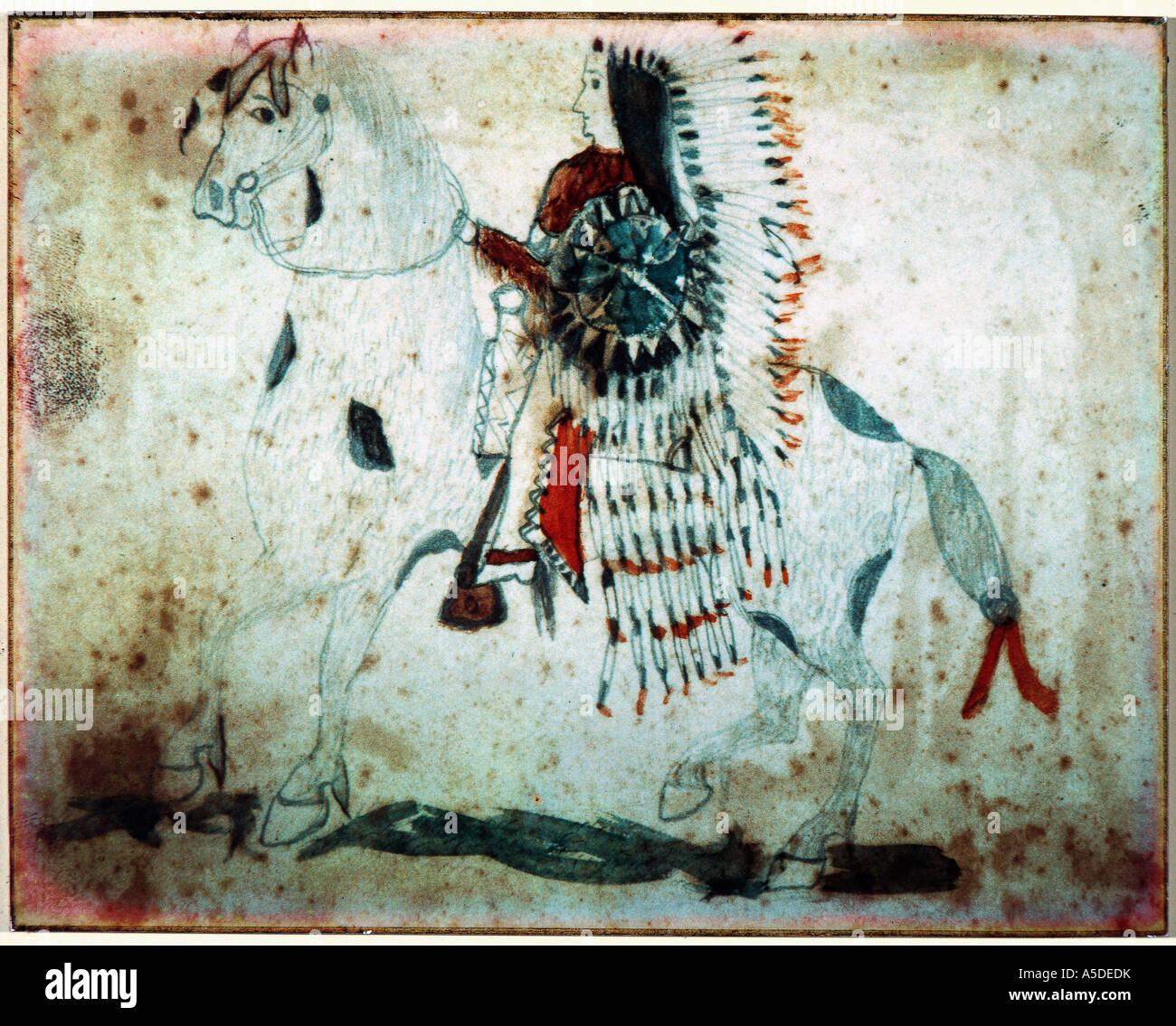 Indian painting of warrior on horseback - Stock Image