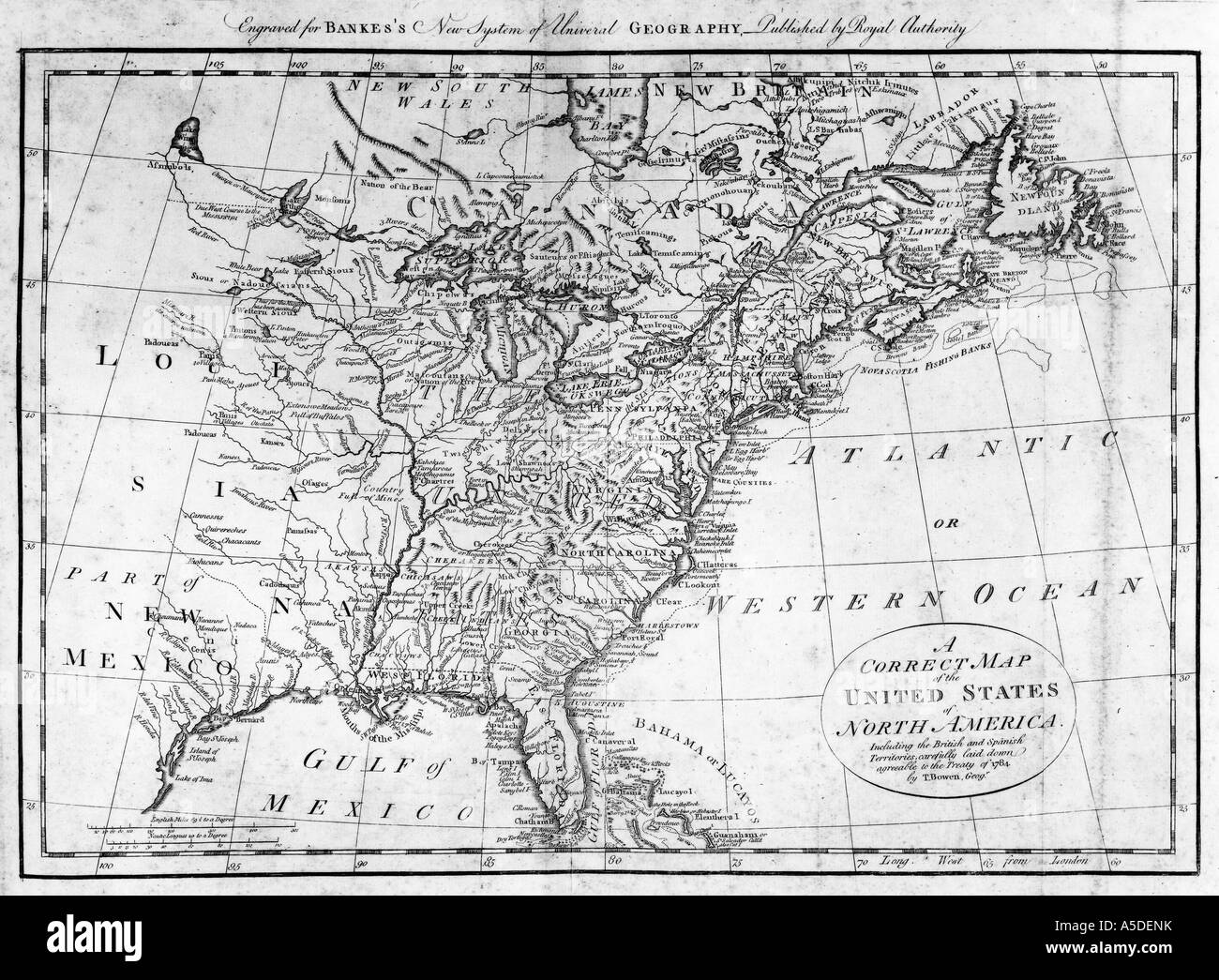 A Correct Map of the United States of North America 1784 - Stock Image