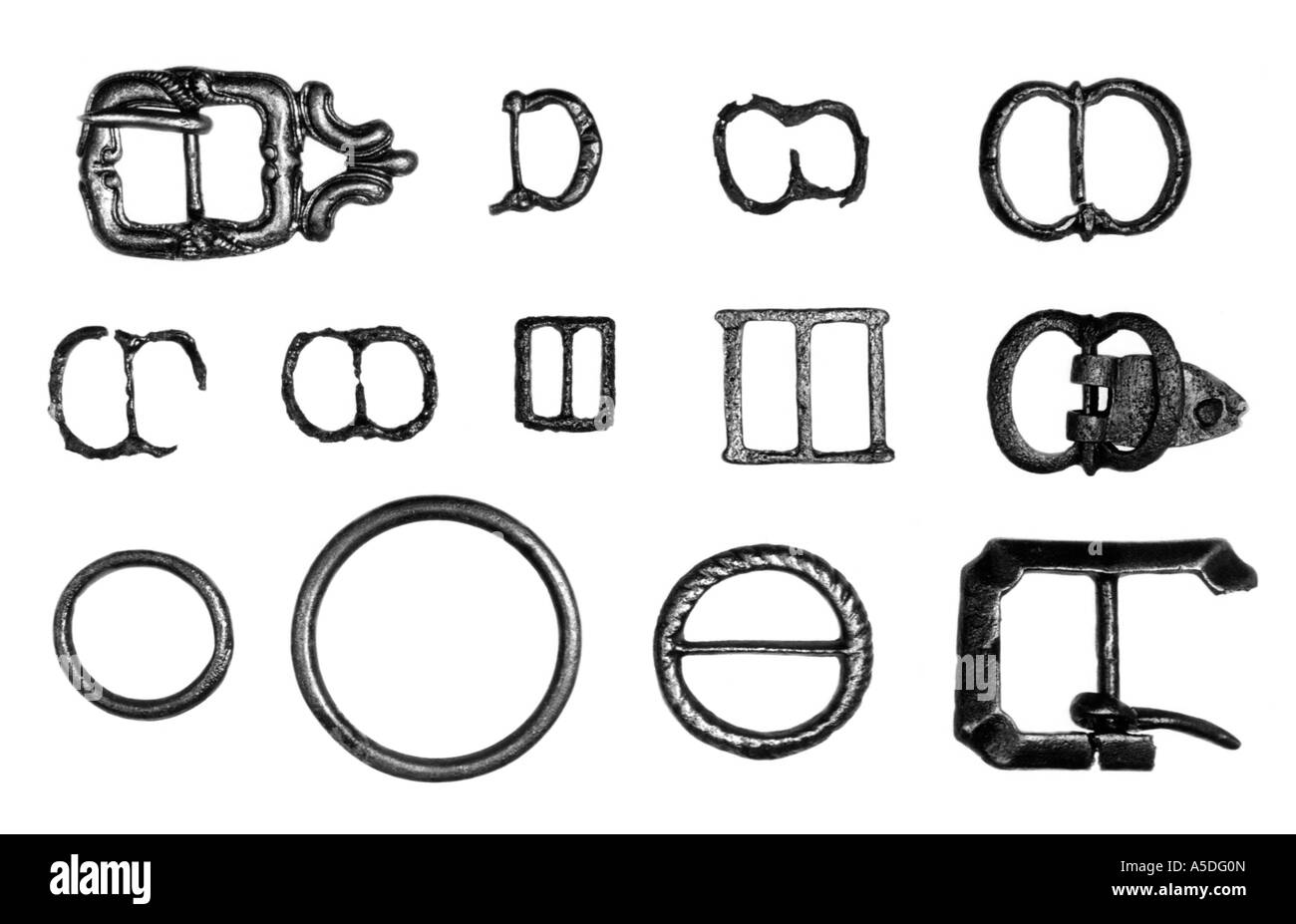 Selection of sixteenth century copper alloy buckles - Stock Image