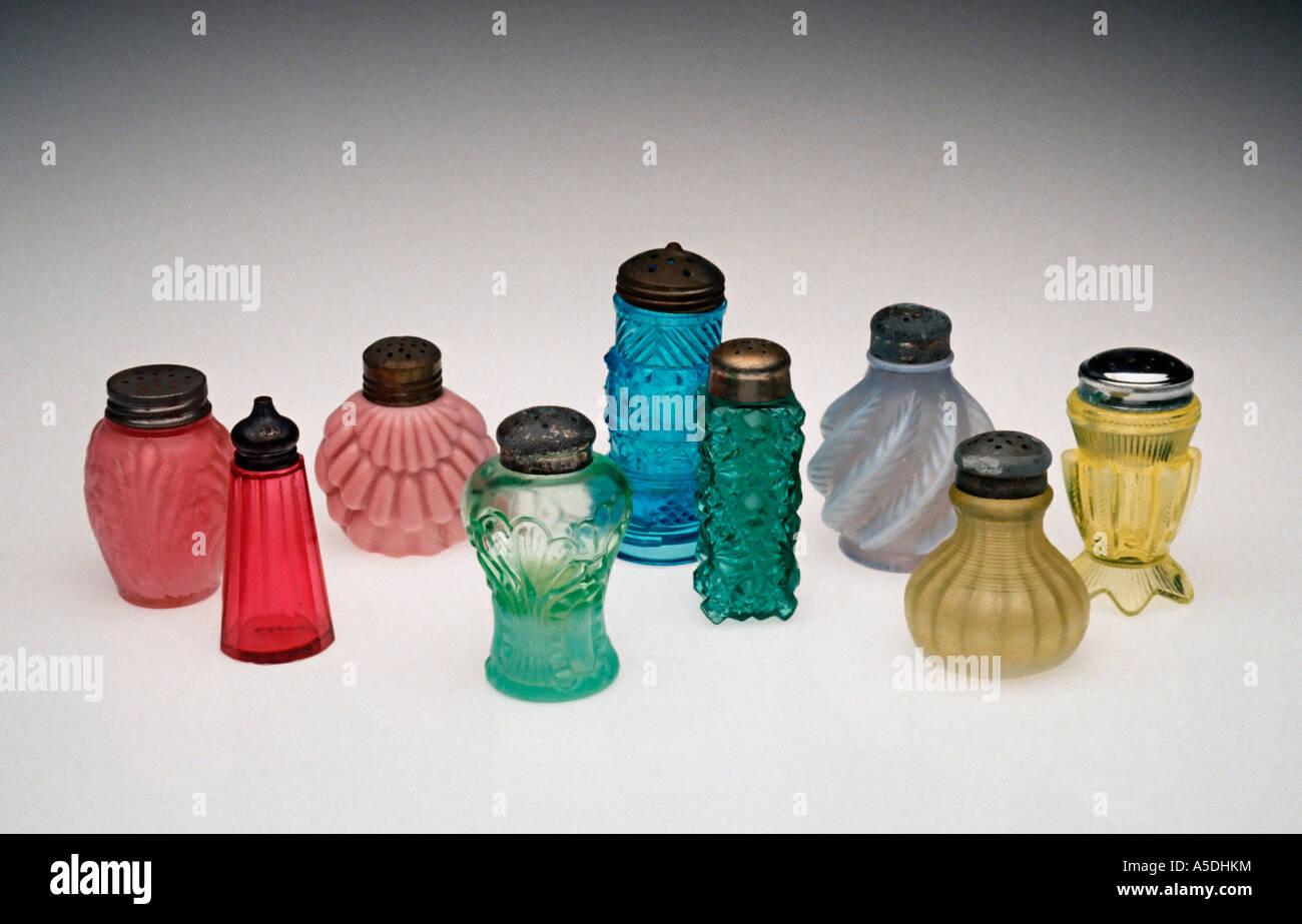Antique Glass Salt Shakers Stock Photo Alamy