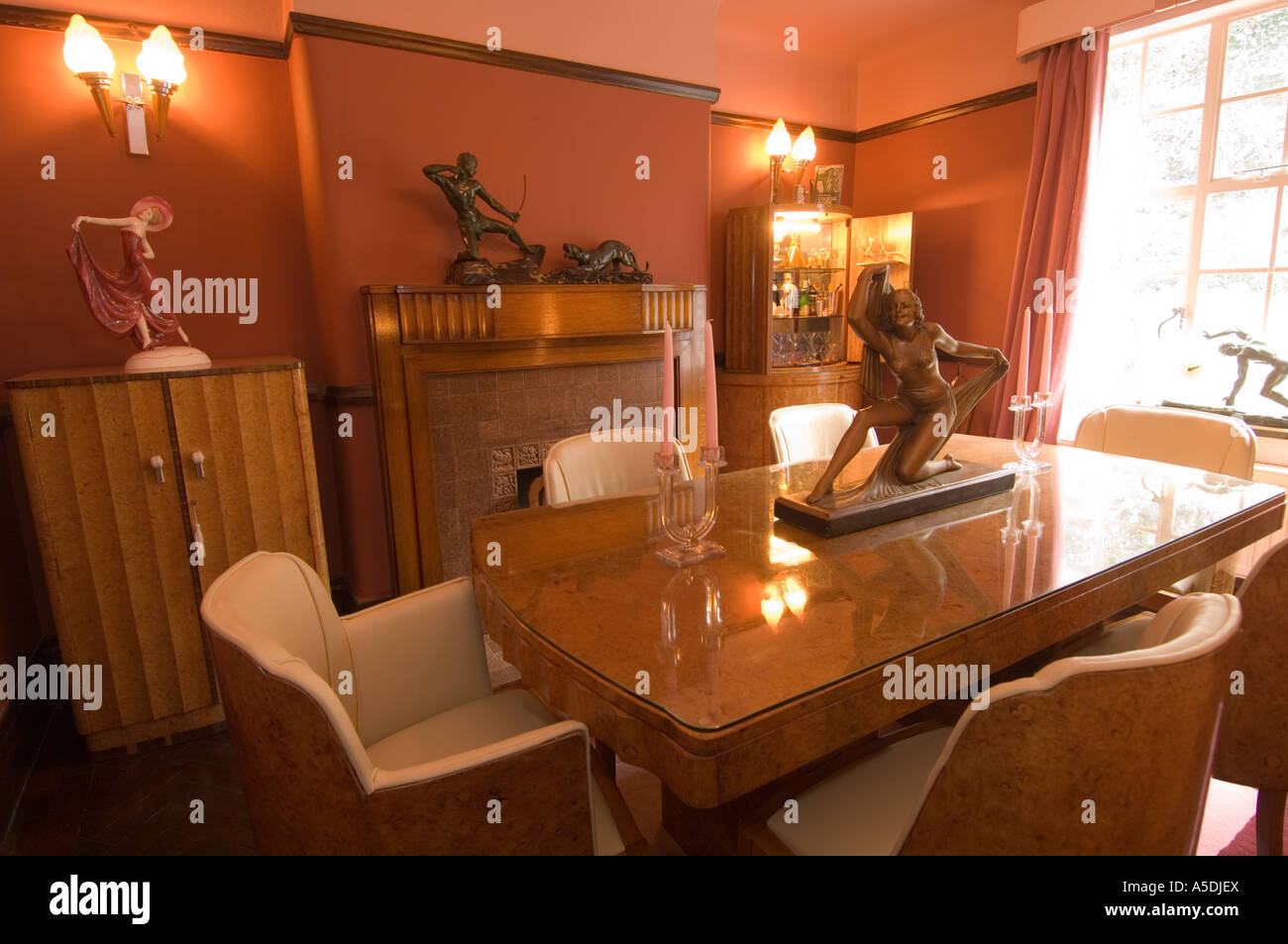 Refurbished Art Deco Nouveau 1930 S House Interior Dining Room With Origianal Ornaments