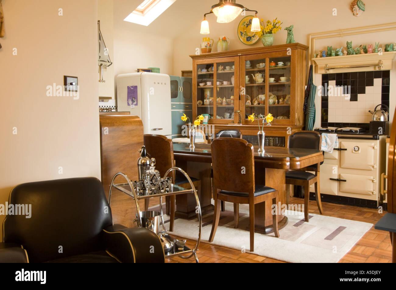 Refurbished art deco s house interior kitchen and lounge