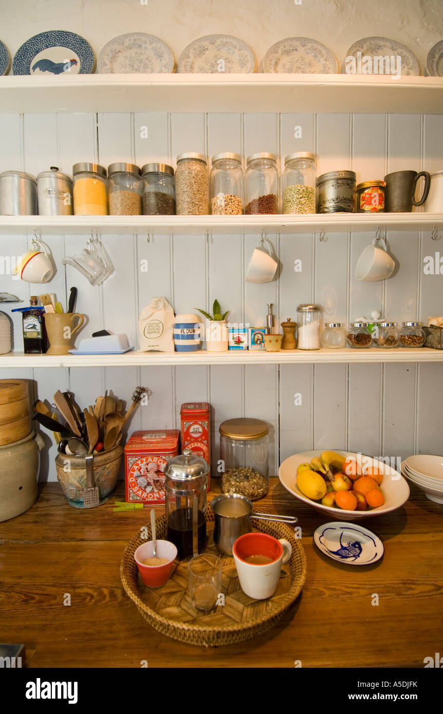 A Tray Of Food And Coffee In Farmhouse Cottage Kitchen Pantry Stock