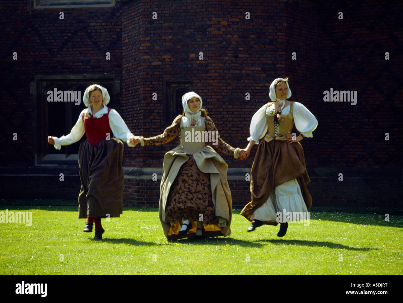 London England Hampton Court Palace Elizabethan Dancers - Stock Image