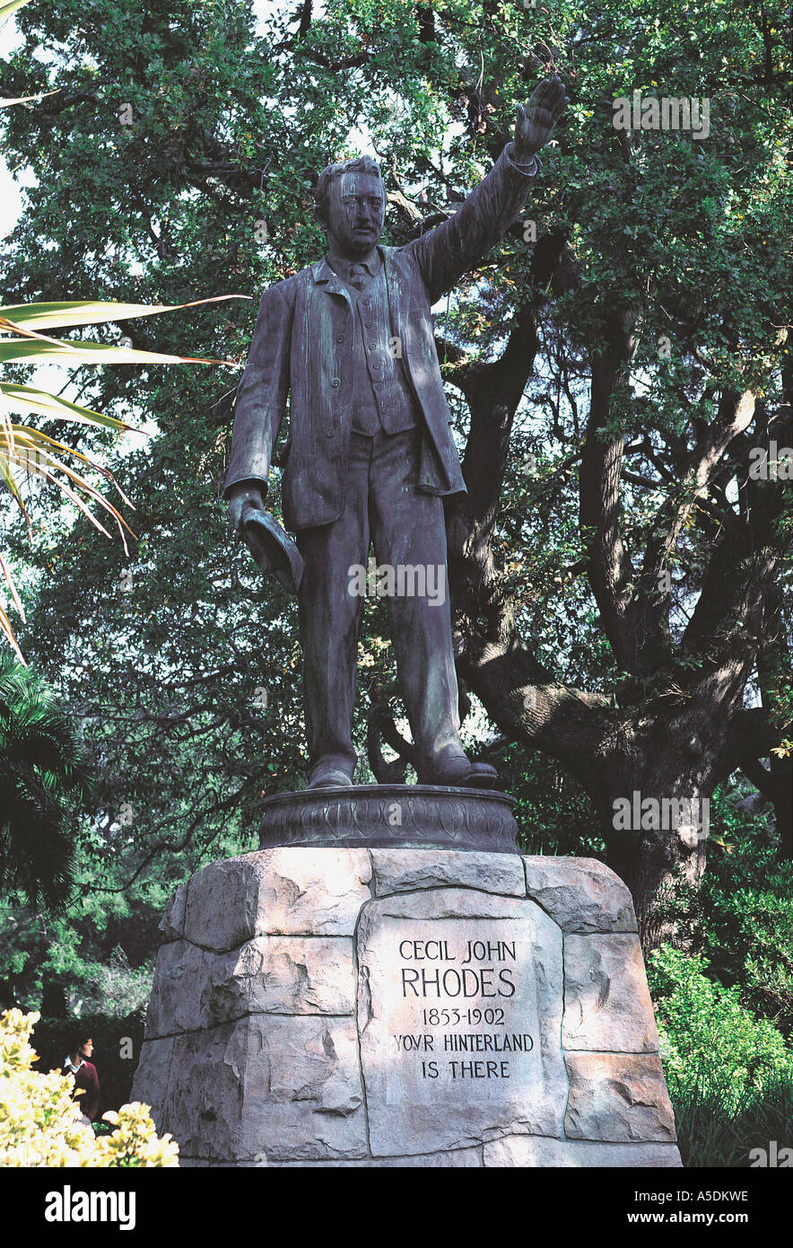 Statue of Cecil John Rhodes in the grounds of the South African Museum Cape Town South Africa - Stock Image