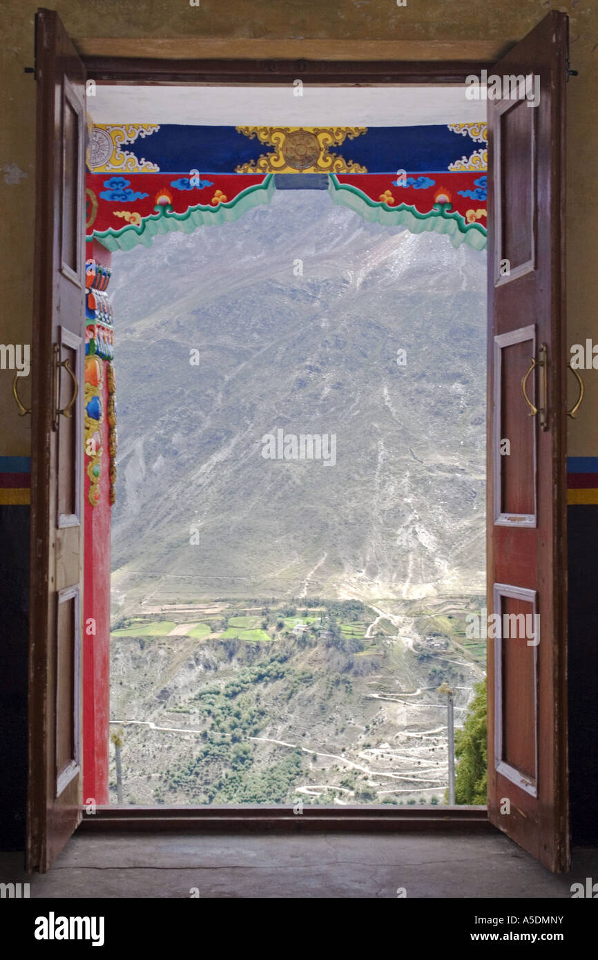View from the inside of a gompa in Keylong in the Himalayan region of Ladakh - Stock Image