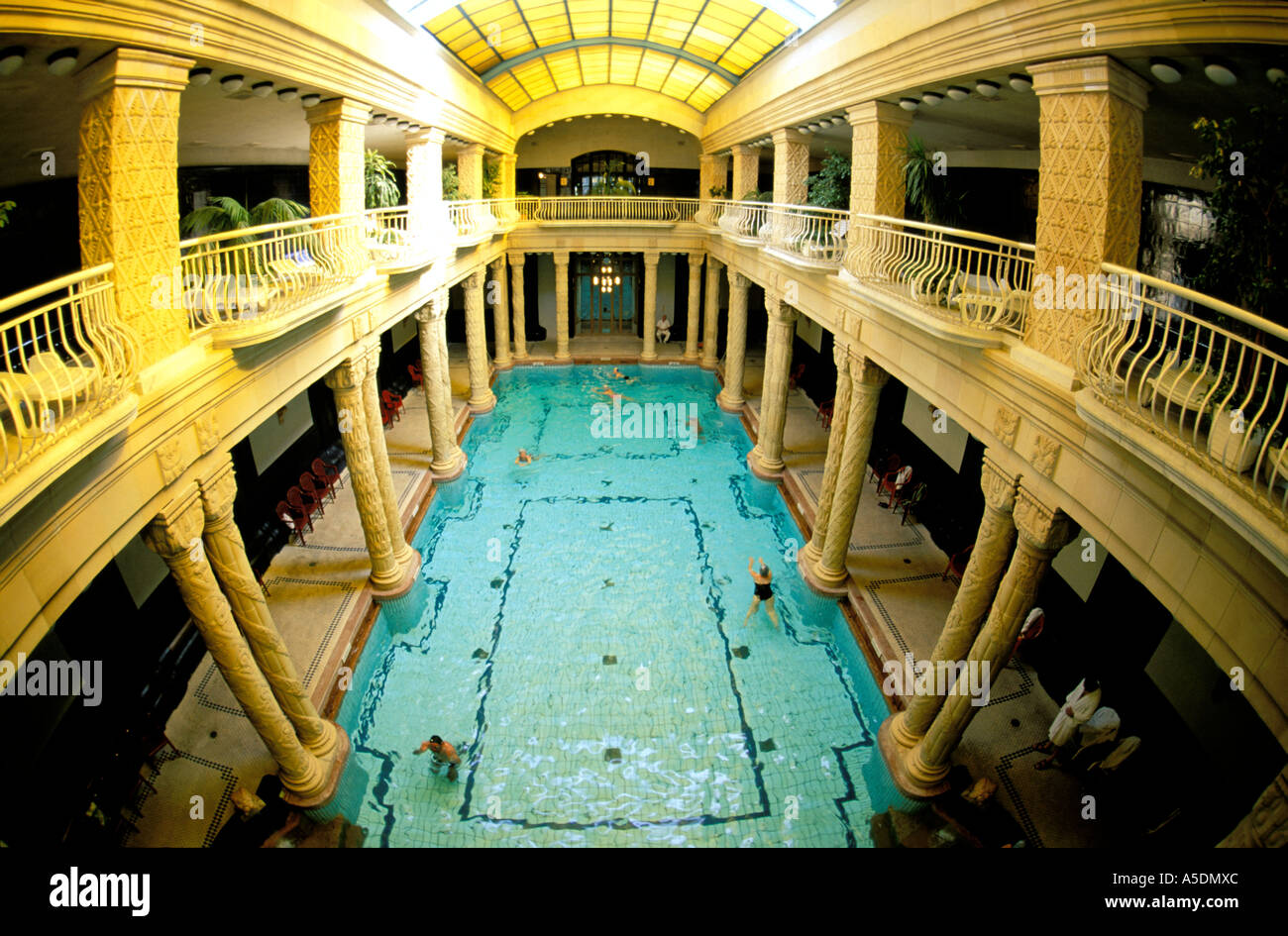 Budapest indoor swimming pool at Gellert Baths Stock Photo: 6446251 ...