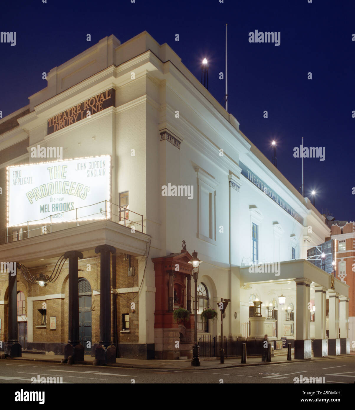 Theatre Royal Drury Lane in London at Night, Playing 'The Producers' - Stock Image