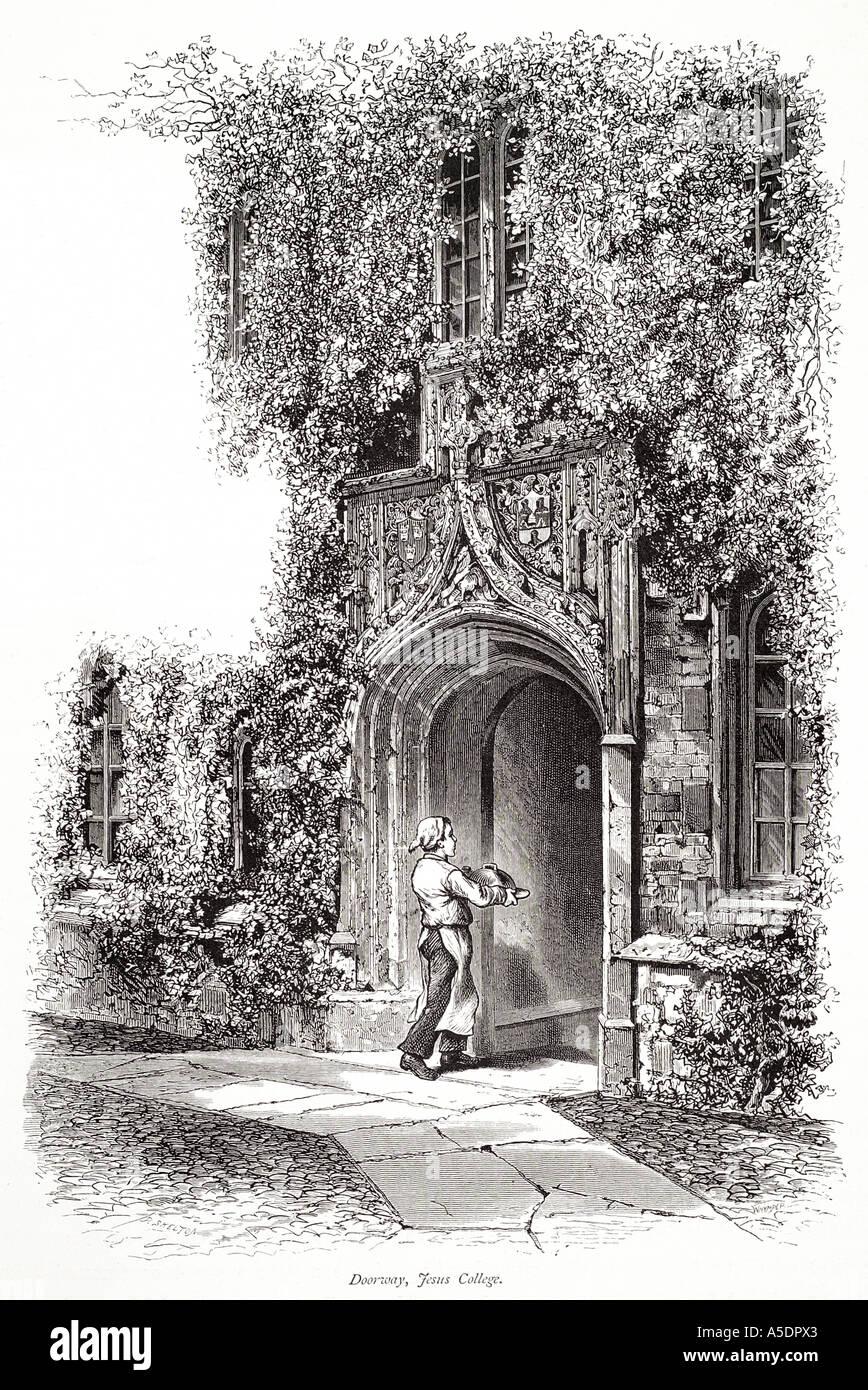 jesus college college entrance arch path ornate stone masonry architecture Cambridge Cambridgeshire university GB UK England Eng - Stock Image