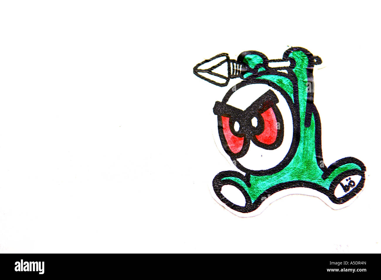 Graffiti Sticker Little Green Character Attack Spear Red Eyes Cartoon Caricature Design Art Arty White Black