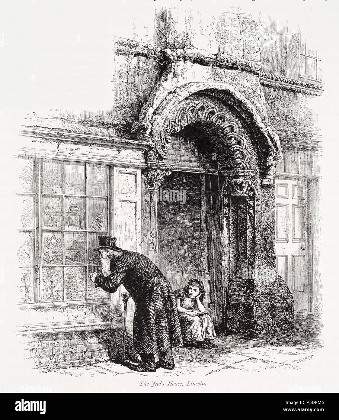 Jew House Lincoln Lincolnshire Old Man Look Window Shop Doorway Entrance Stone Medieval England English UK United Kingdom GB Gre