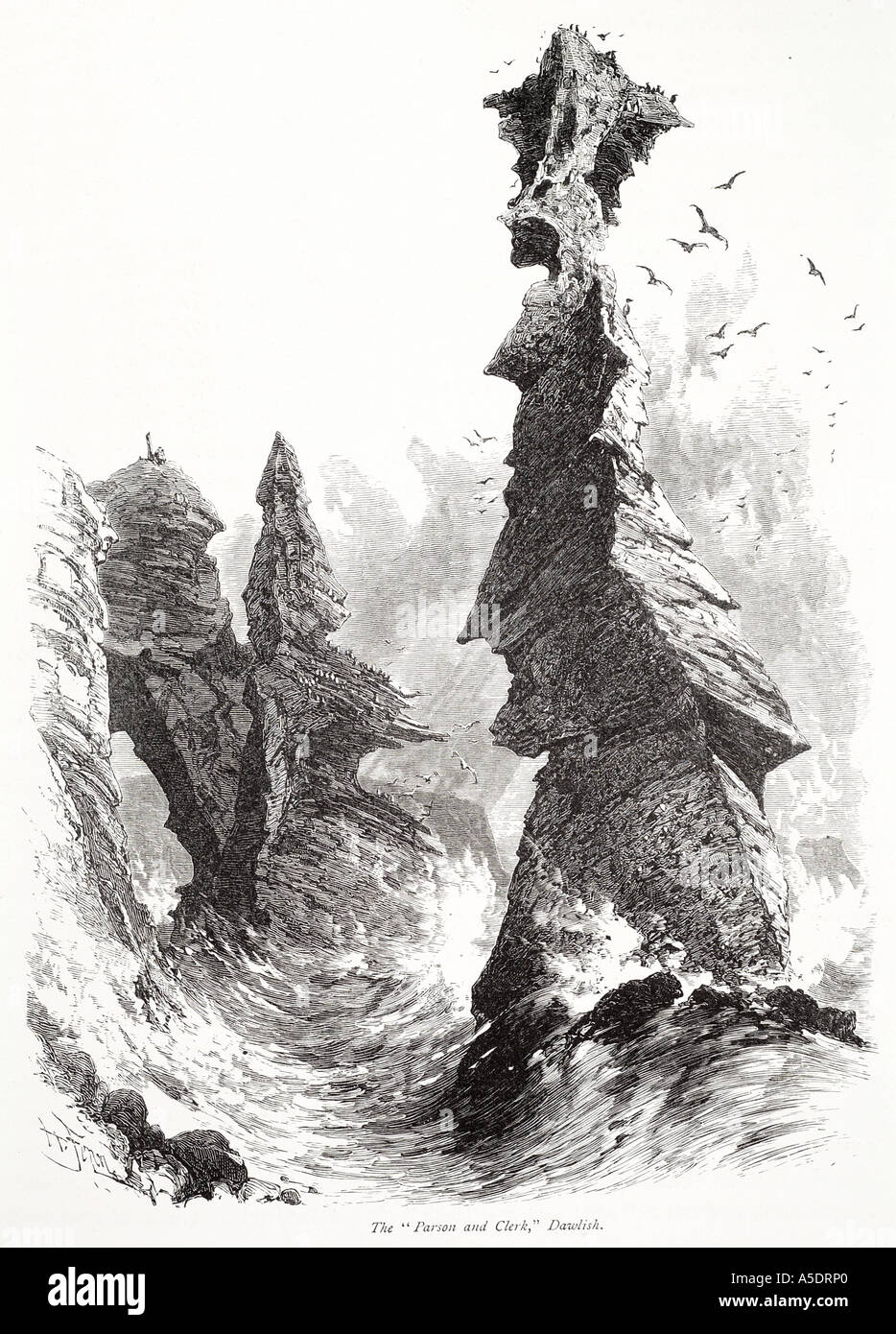 parson clerk dawlish rock spire chimney devon south coast marine wave erosion geology sea water England English UK GB United Kin - Stock Image