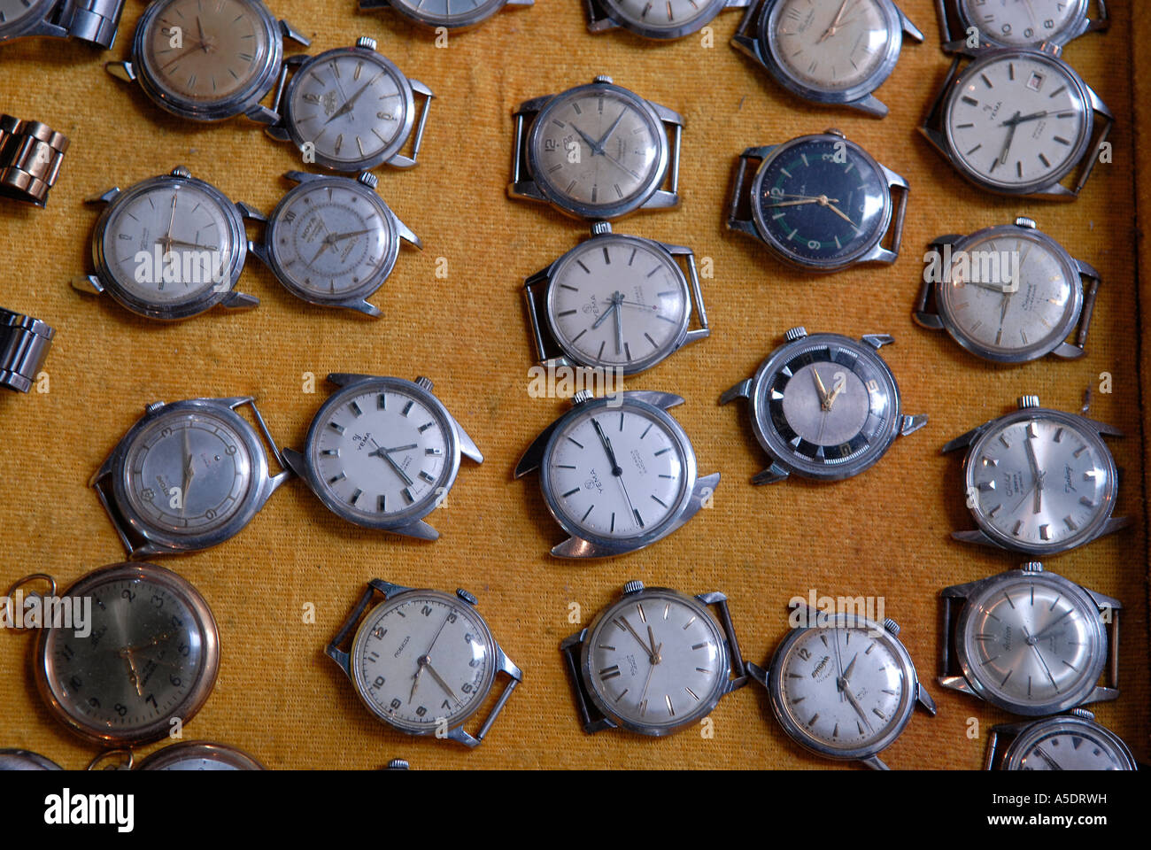 Collection of old wristwatches - Stock Image