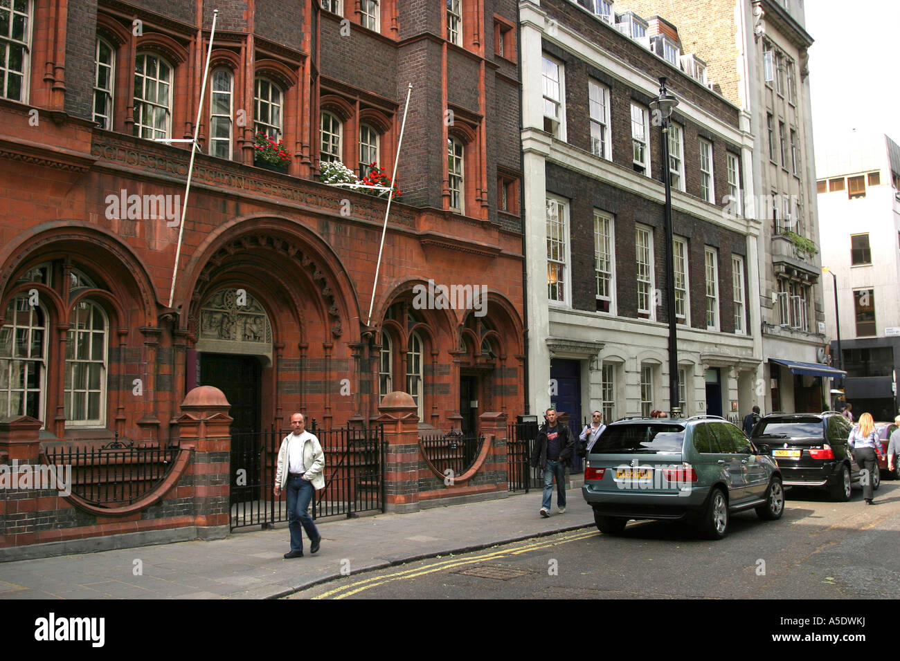 London Soho Square French Protestant Church and Number 15 original building - Stock Image
