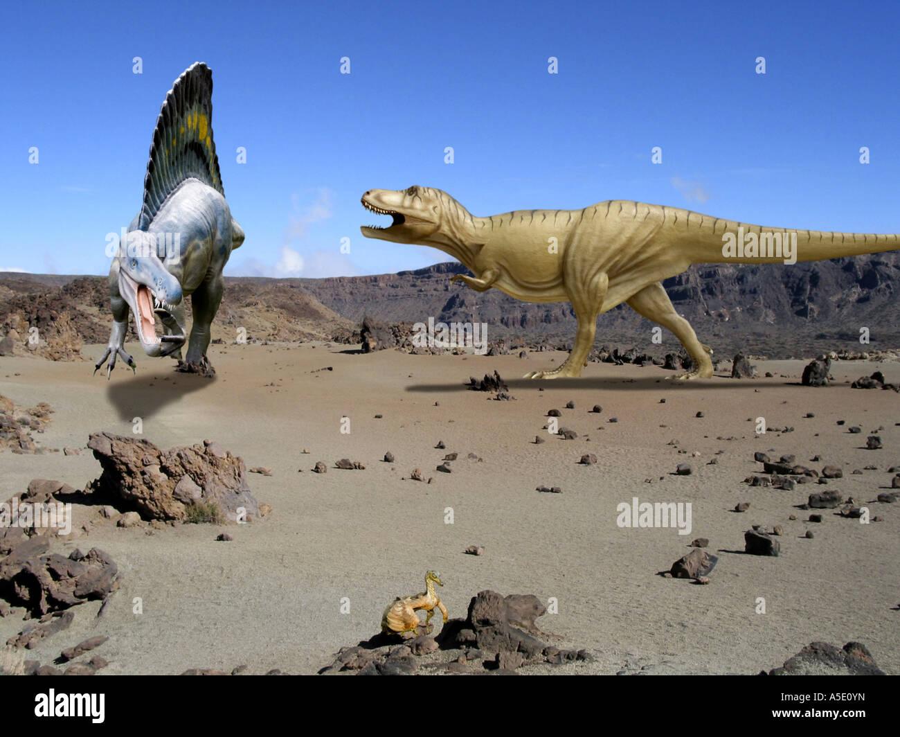 Tyrannosaurus and Spinosaurus - Stock Image