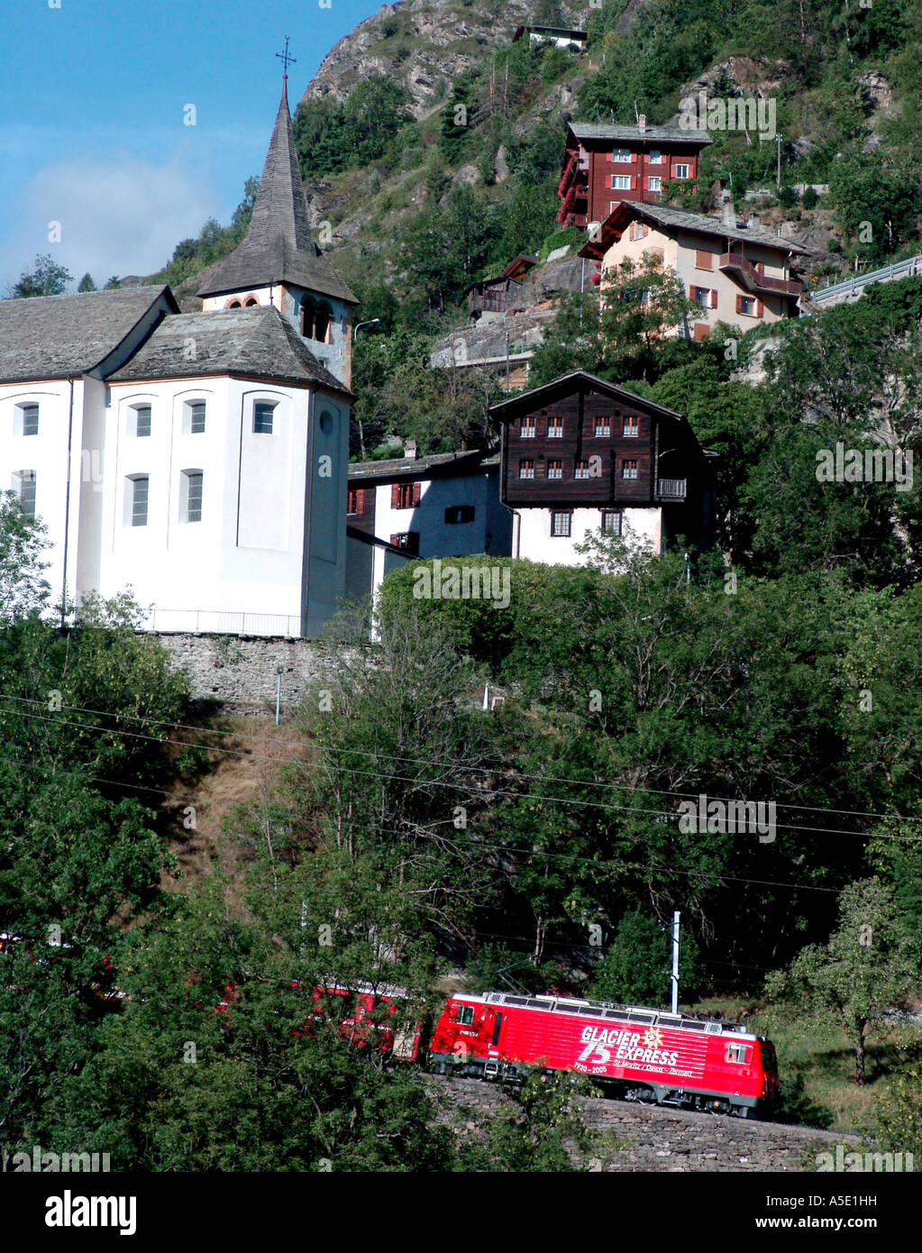 Glacier Express, Switzerland, Stalden - Stock Image
