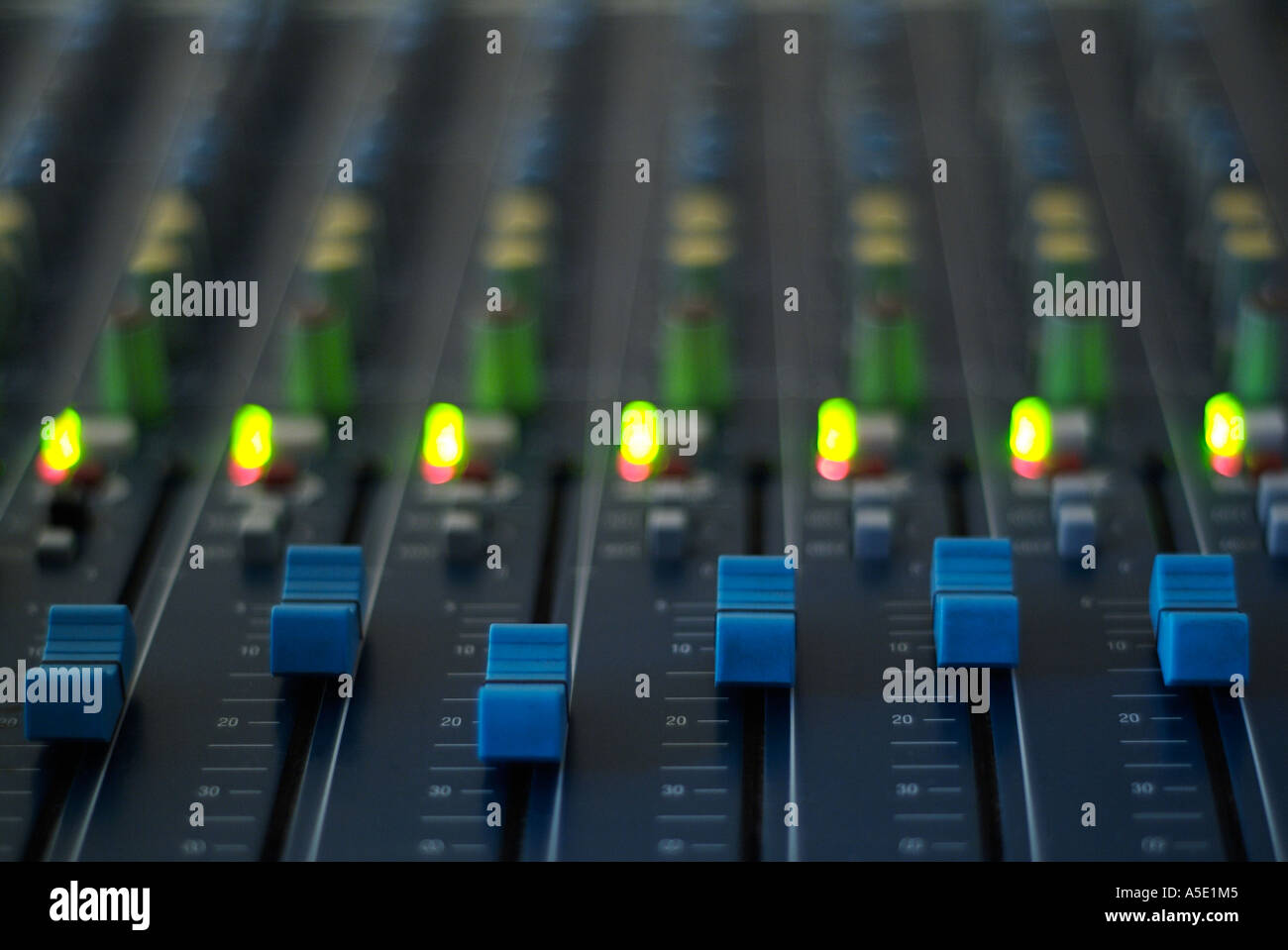 Close Up of an Electronic Mixing Desk Stock Photo
