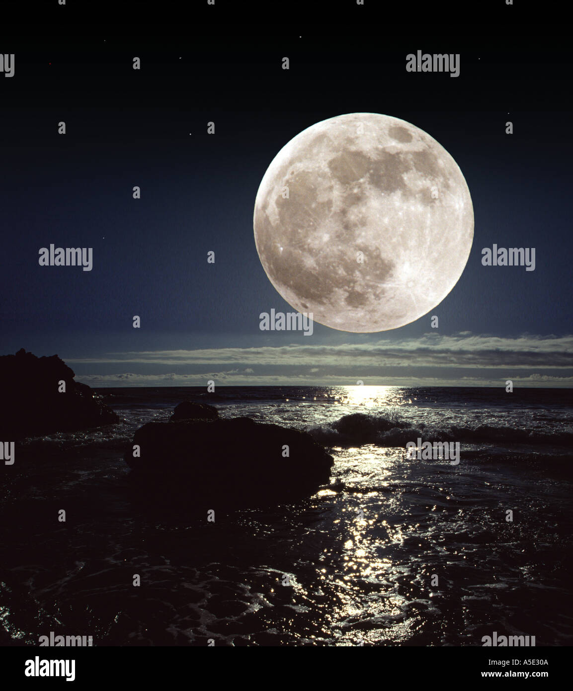 Moon over the Sea - Stock Image