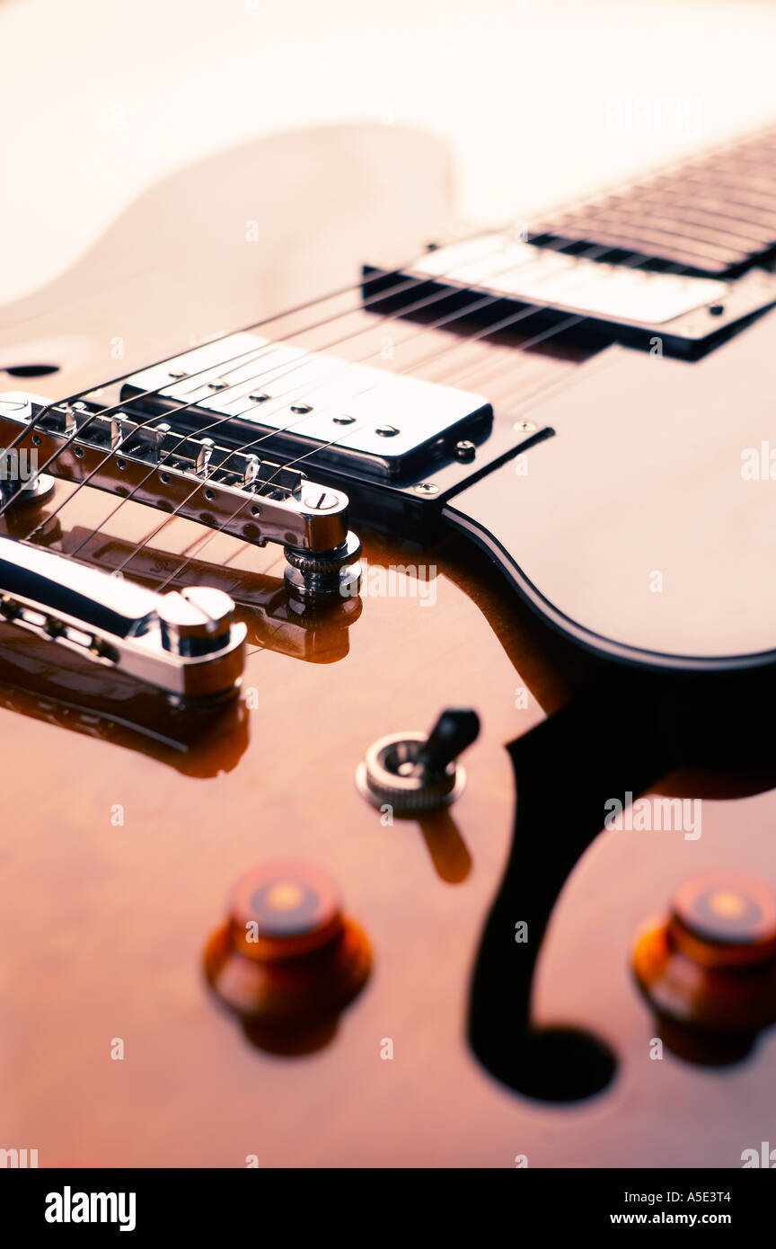 CLOSE UP OF SEMI ACOUSTIC ELECTRIC GUITAR - Stock Image