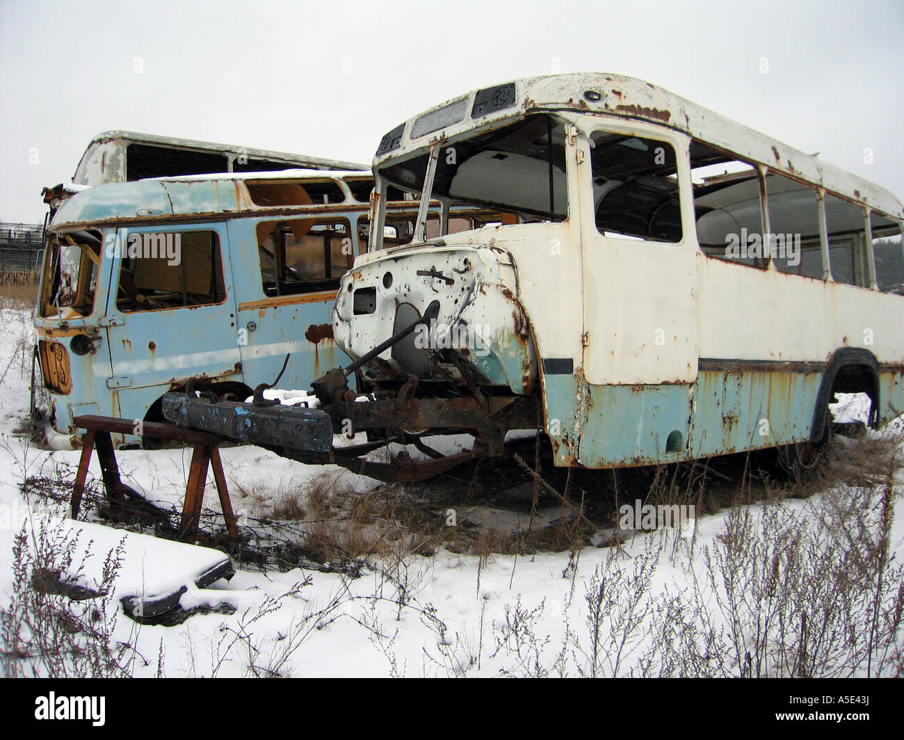 Abandoned vehicle graveyard in Ukraine where relics of the nuclear disaster were taken away from people due to high - Stock Image
