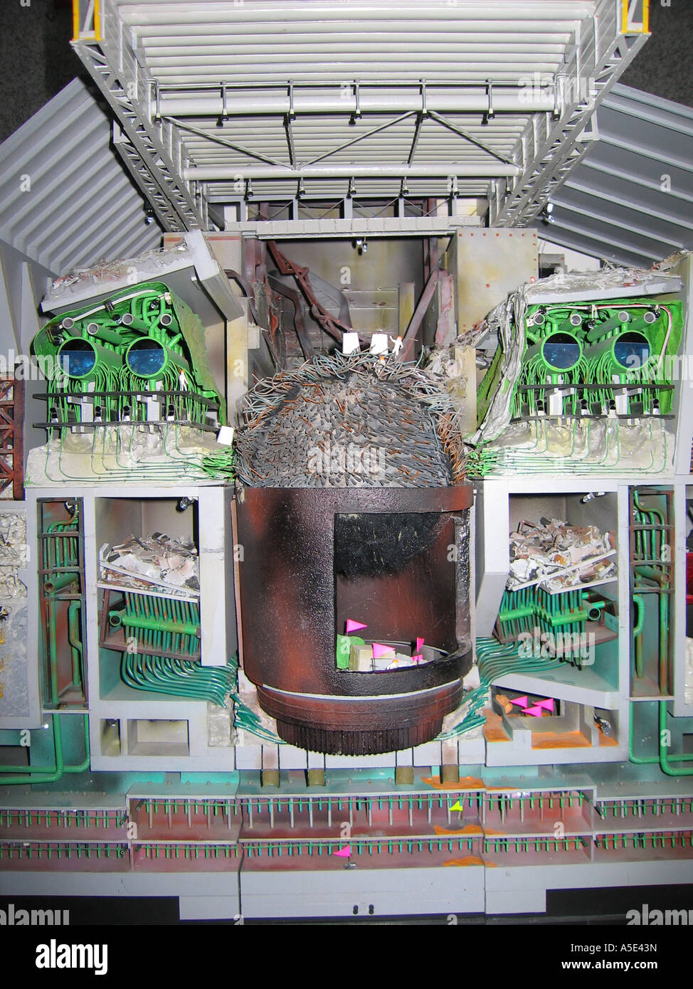 Chernobyl reactor 4 model in the visitor centre at the site of the nuclear disaster - Stock Image