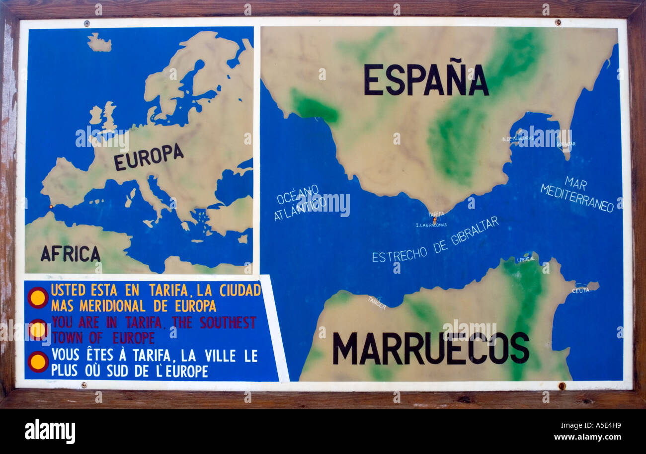 Tarifa Map Spain Stock Photo 6448408 Alamy