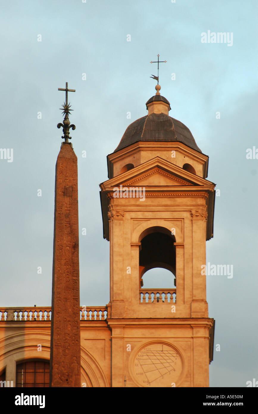 Trinità dei Monti (Santissima Trinità al Monte Pincio or Holy Trinity on Pincio Hill) overlooking the - Stock Image