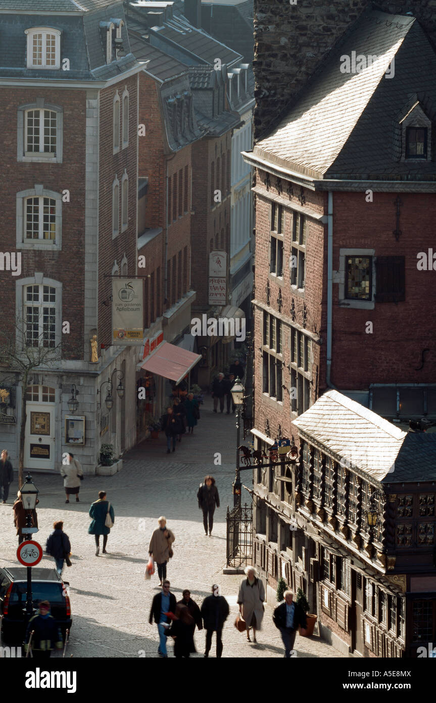 Aachen, Markt, Blick in die Krämerstraße mit dem Postwagen - Stock Image