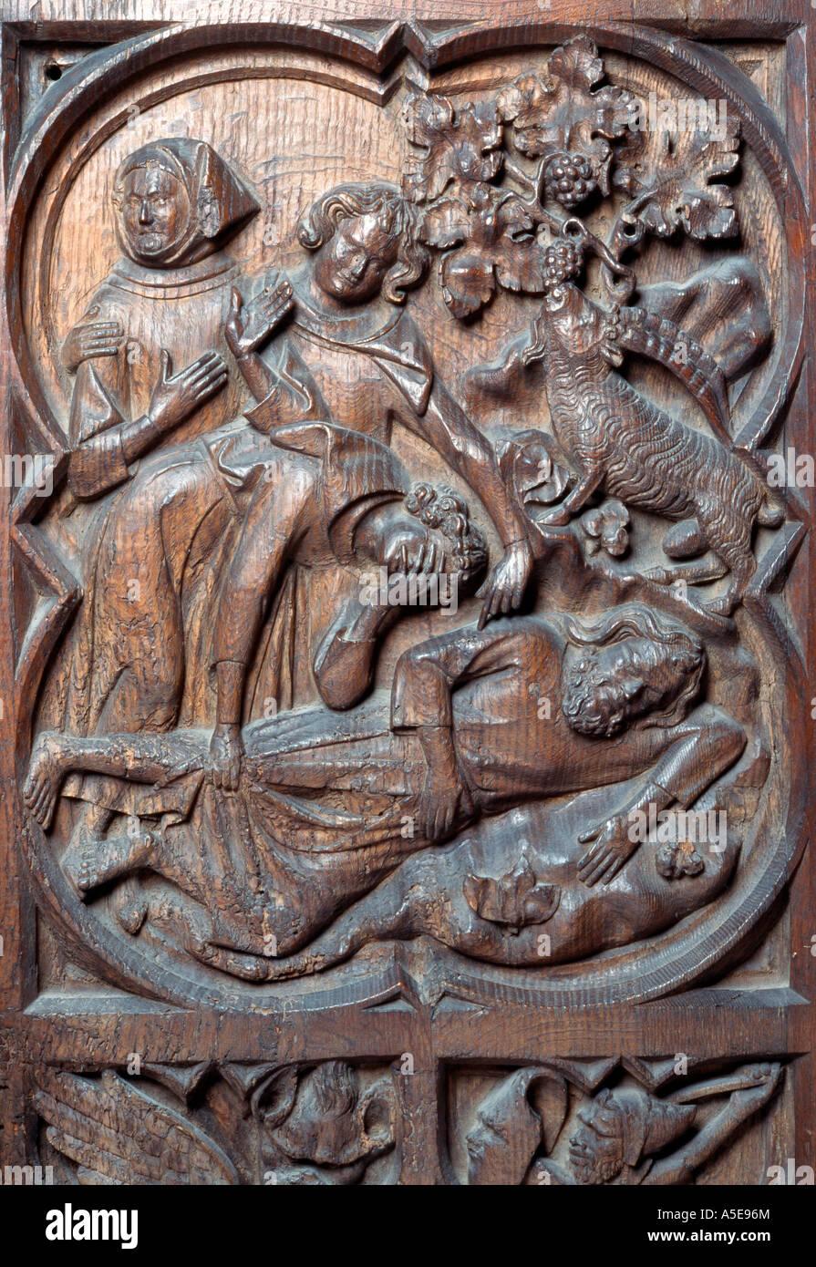 Köln, Dom, Detail des Chorgestühls - Stock Image