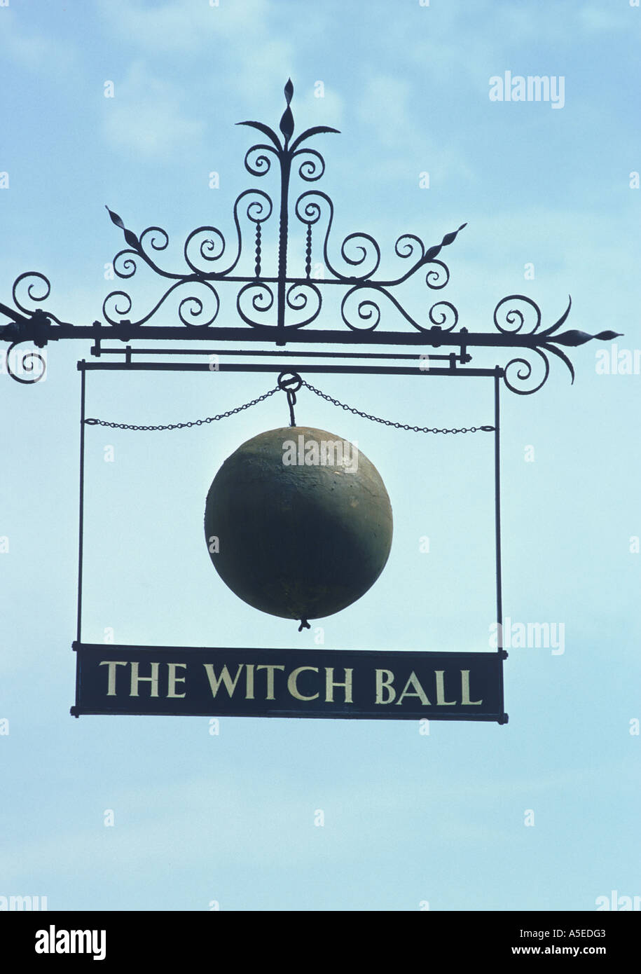 Sign The Witch Ball hanging in the High Street of the town of Thame Oxfordshire - Stock Image
