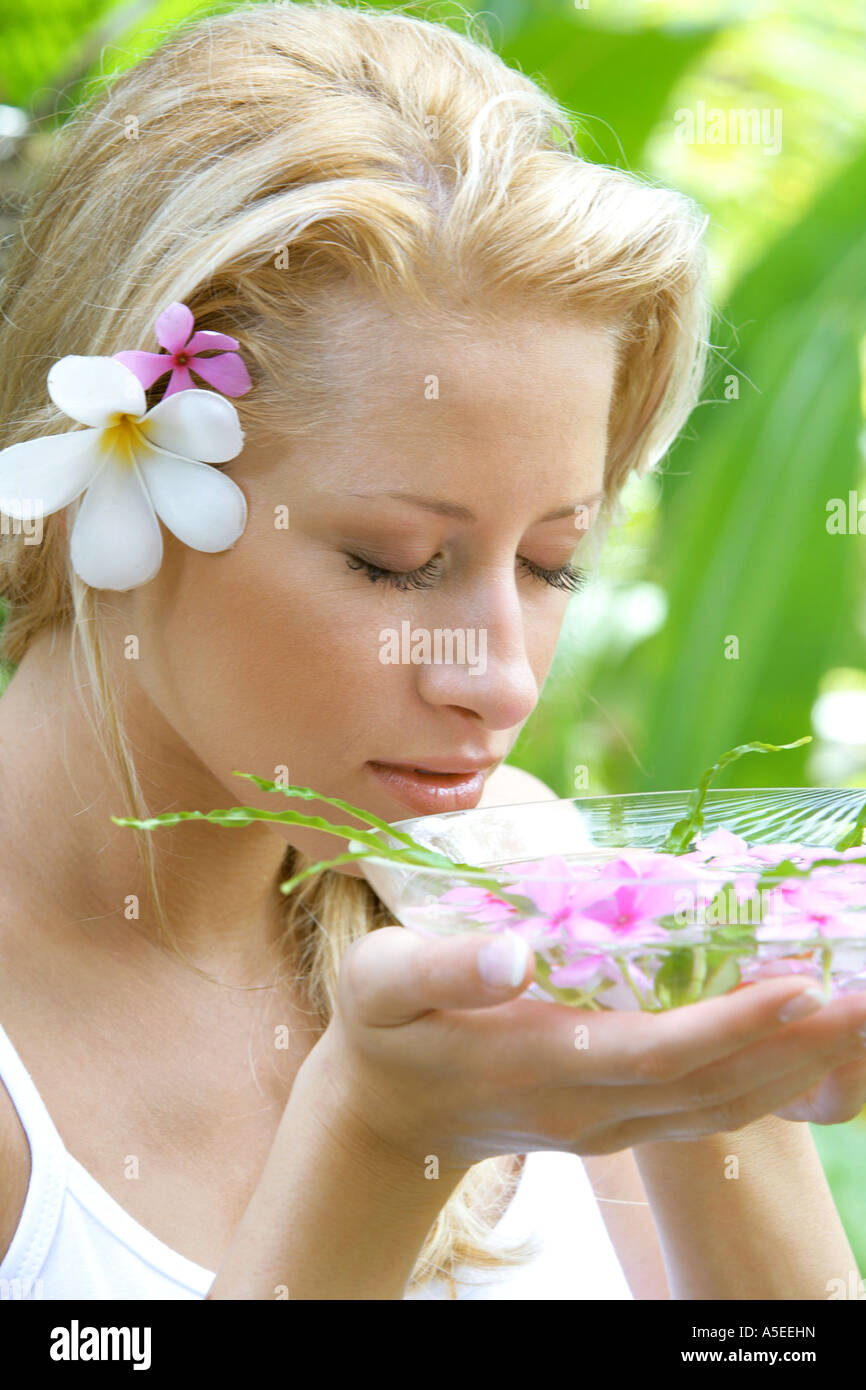 young blond woman making holiday at beauty farm in Thailand - Stock Image