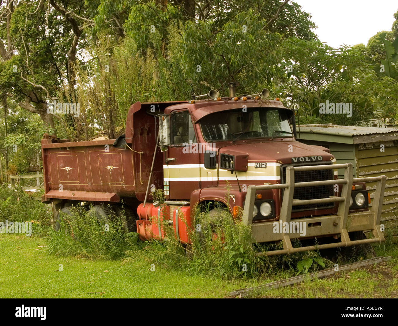 Volvo Of The Woodlands >> Volvo Tip Dump Truck Abandoned In Woodlands Stock Photo