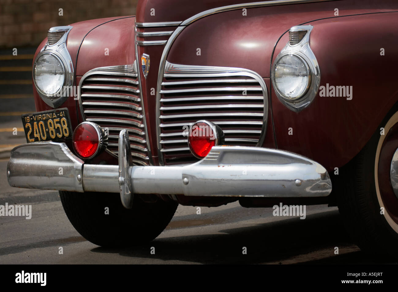 Plymouth Deluxe Stock Photos Images Alamy 1941 Special 4 Door The Nose Grill Headlights License Plate And Bumper Of An Antique