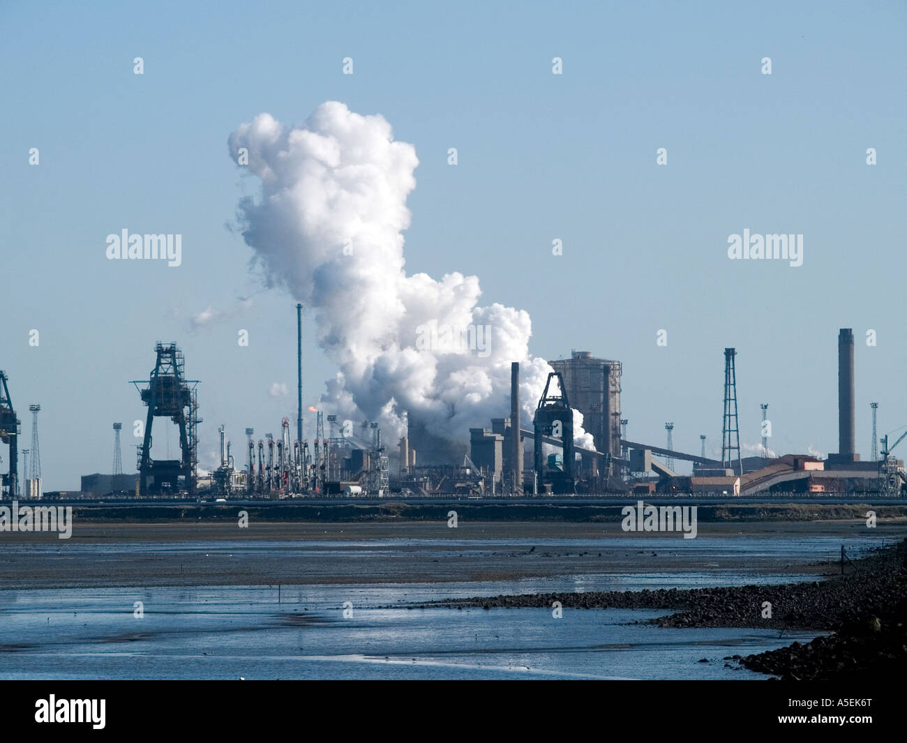 Redcar steelworks now owned by Indian company Tata viewed from the teeside national nature reserve - Stock Image