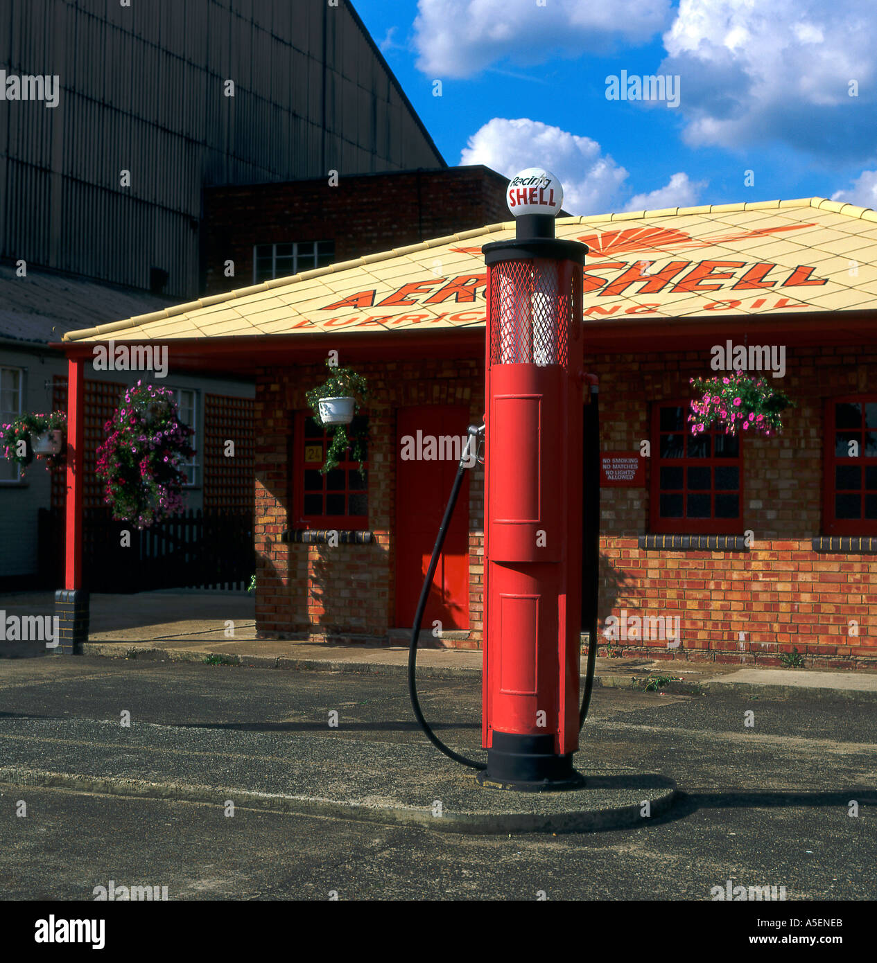 Old fuel station pump at Brooklands Racetrack Surrey England - Stock Image