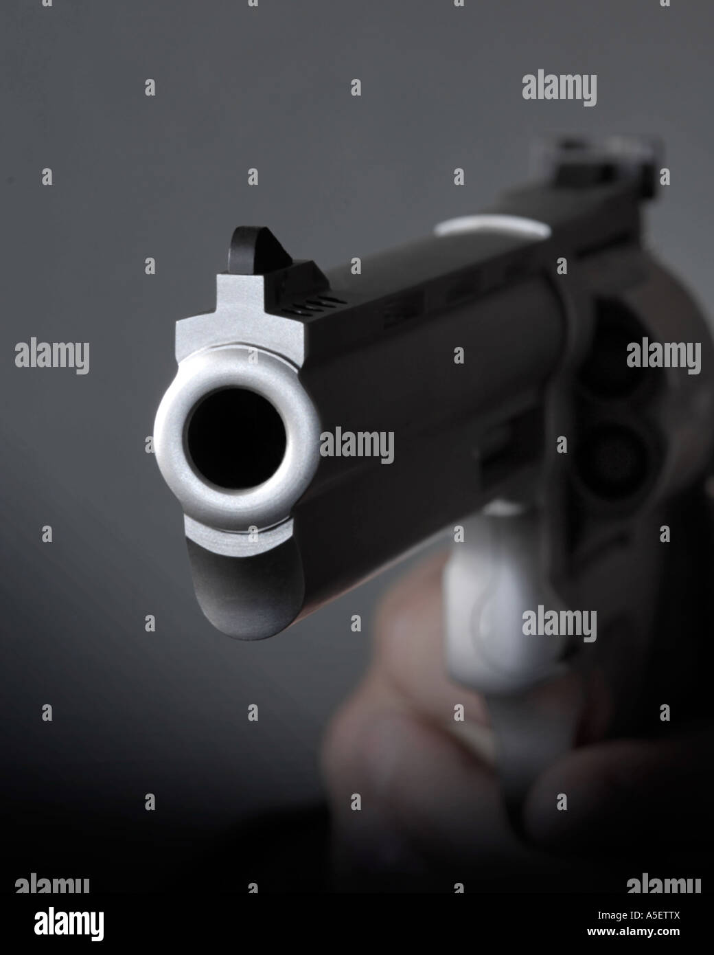 Looking Down The Barrel Of A Pistol Stock Photo Alamy