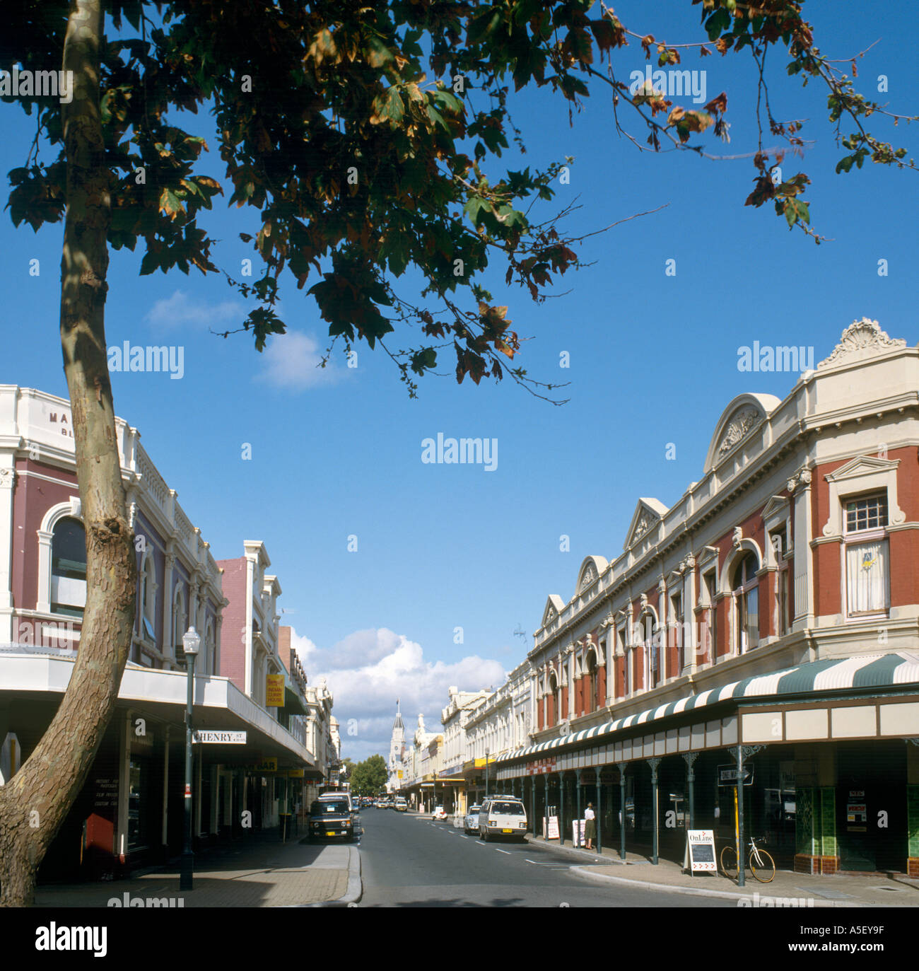 View of High Street from Henry Street looking towards the Town Hall, Fremantle, Western Australia, Australia - Stock Image