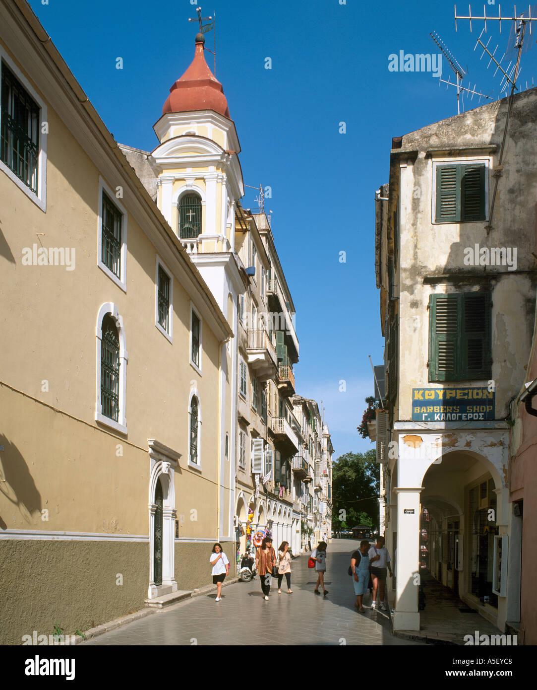 Old Town, Corfu Town, Corfu (Kerkyra), Ionian Islands, Greece - Stock Image