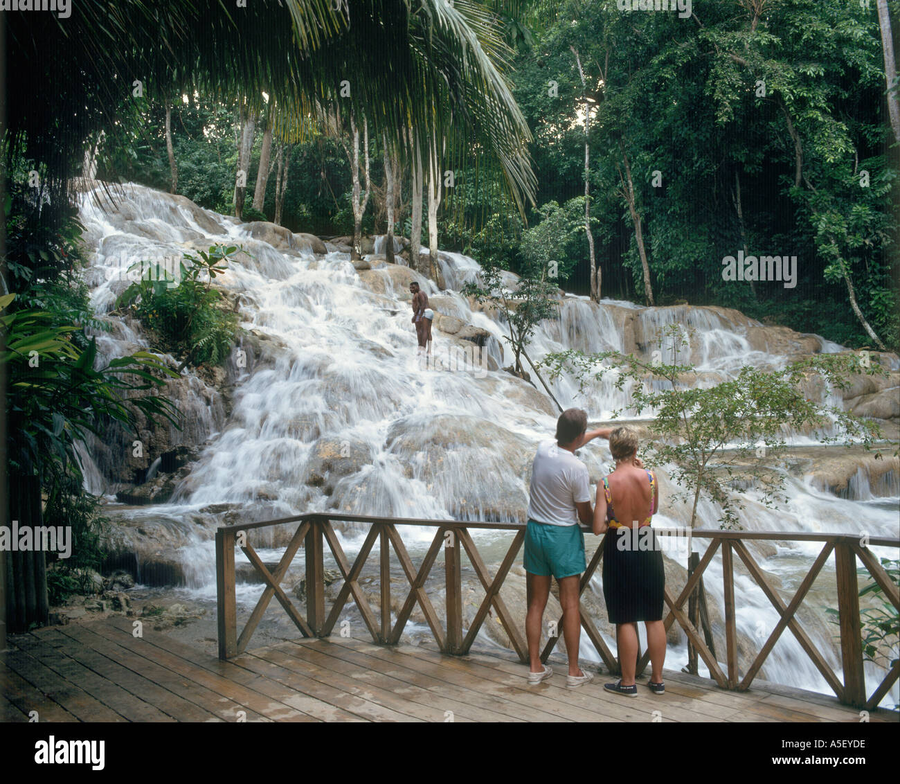 Dunns River Falls, Ocho Rios, Jamaica, Caribbean, West Indies - Stock Image