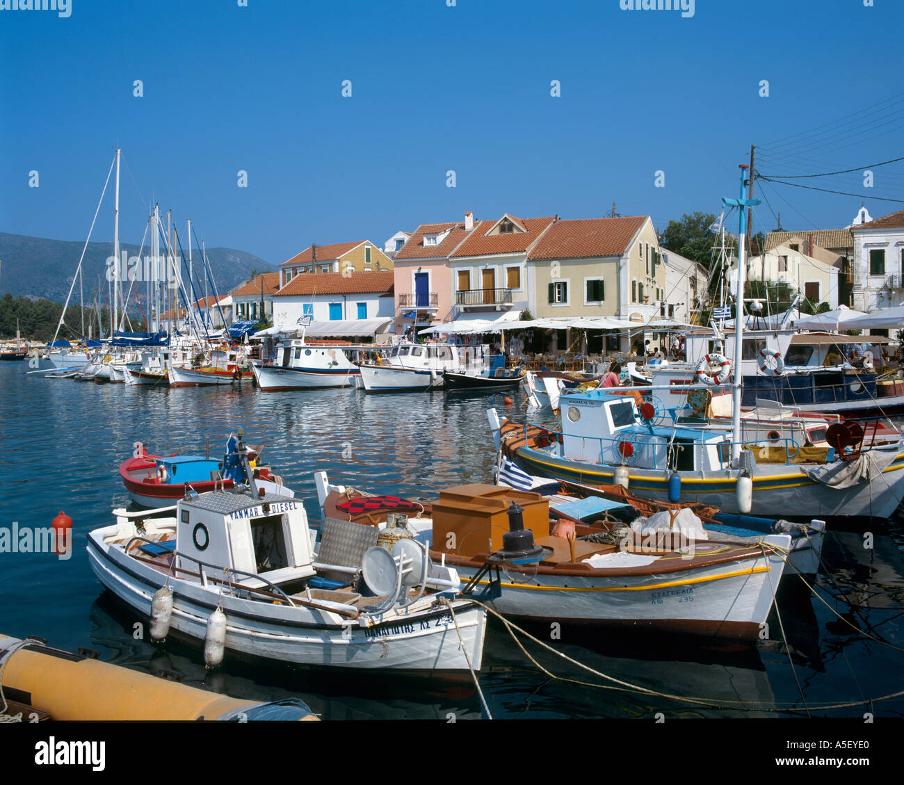 Harbour in Fiskardo, Kefalonia, Ionian Islands, Greece - Stock Image