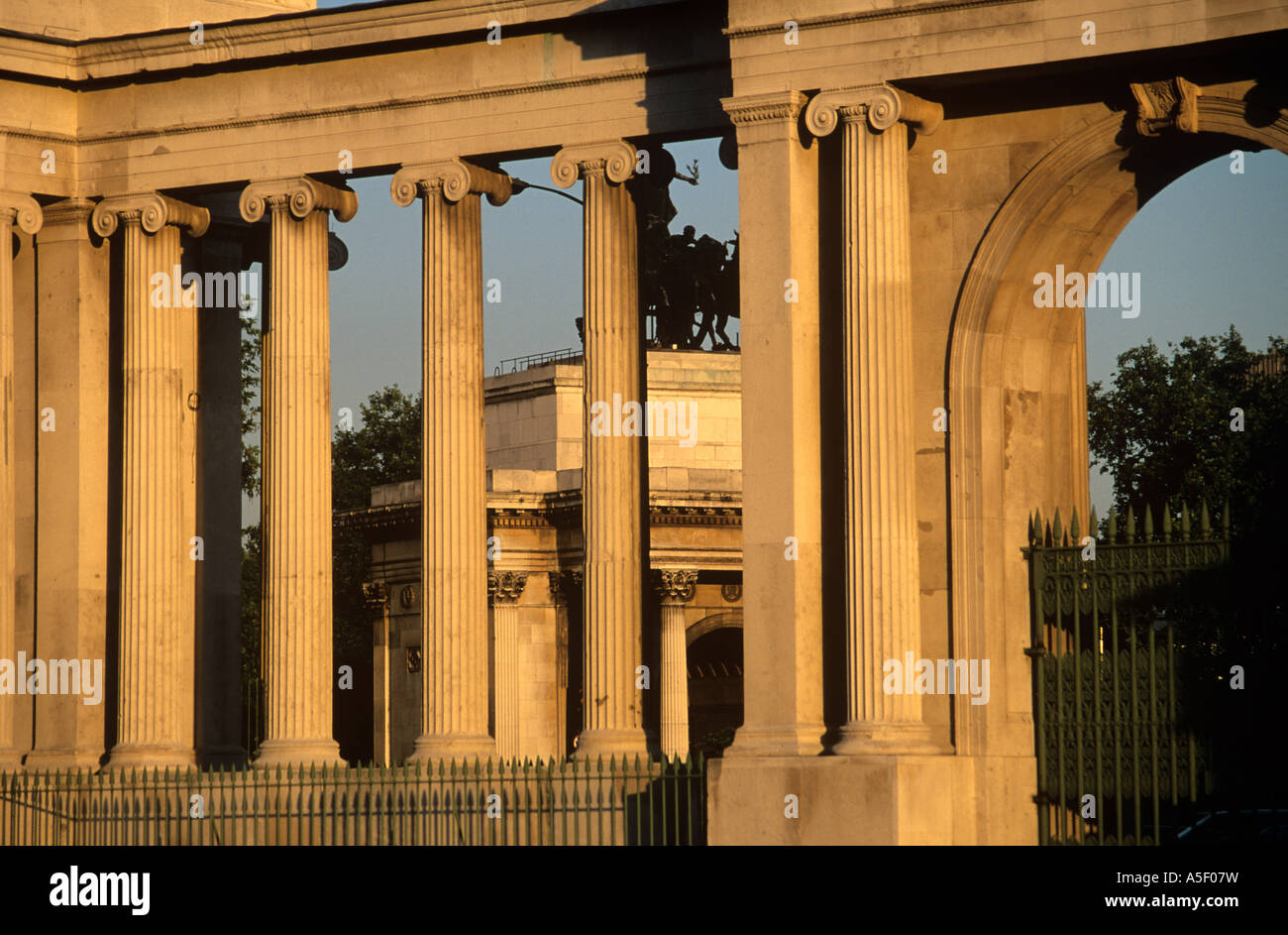 The columns of the Grand Entrance at Hyde Park Corner London - Stock Image