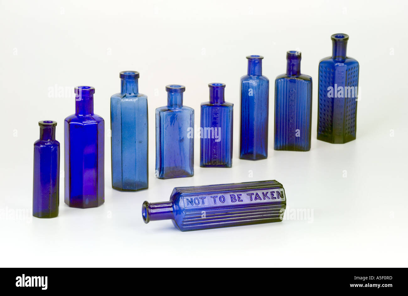 Blue glass antique poison bottle with