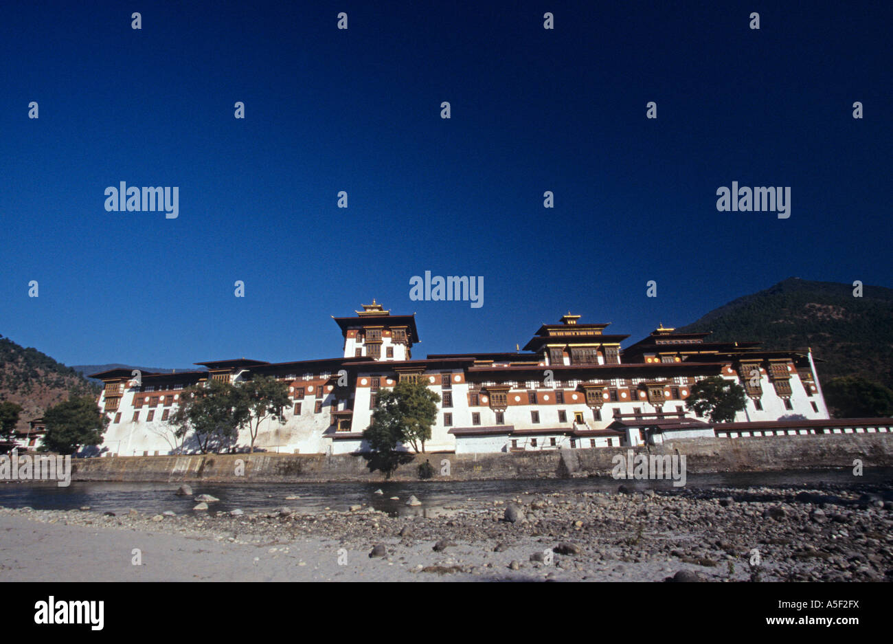 The facade view of a monastery in Bhutan a land of the thunder dragon - Stock Image