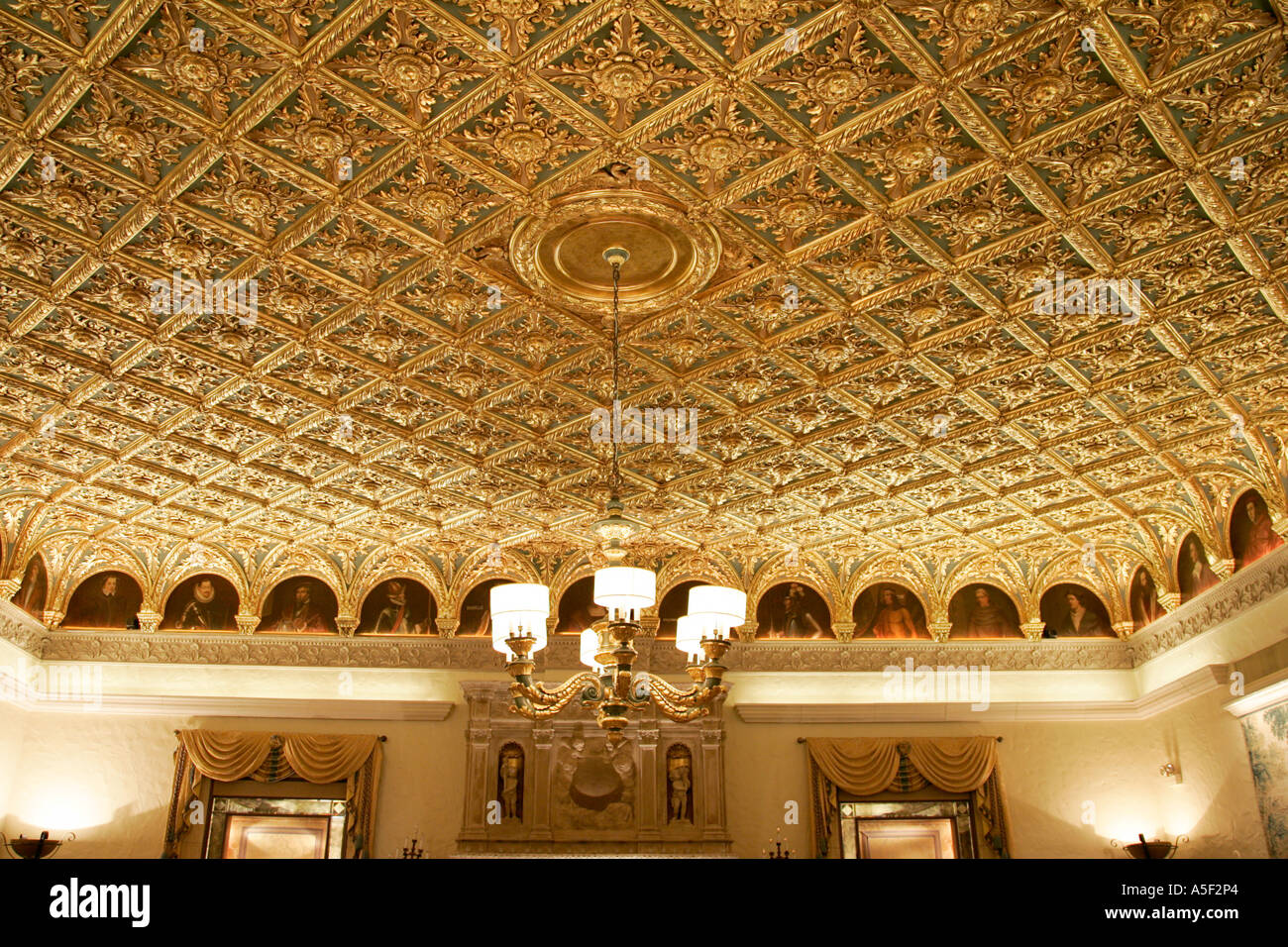 Decorative Gold Ceiling The Breakers Hotel Palm Beach Luxury Interior  Typical Wedding Boll Room Dance Decoration Columns Windows