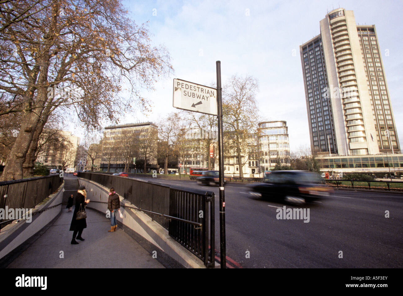 Street scene of Old Park Lane London - Stock Image
