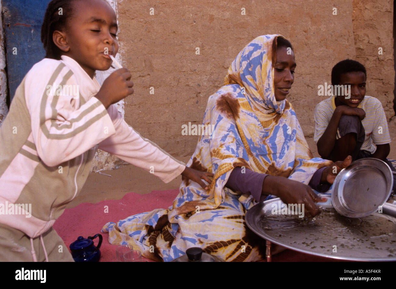 A Muslim family in the Saharawi refugee camp in Tindouf Western Algeria - Stock Image