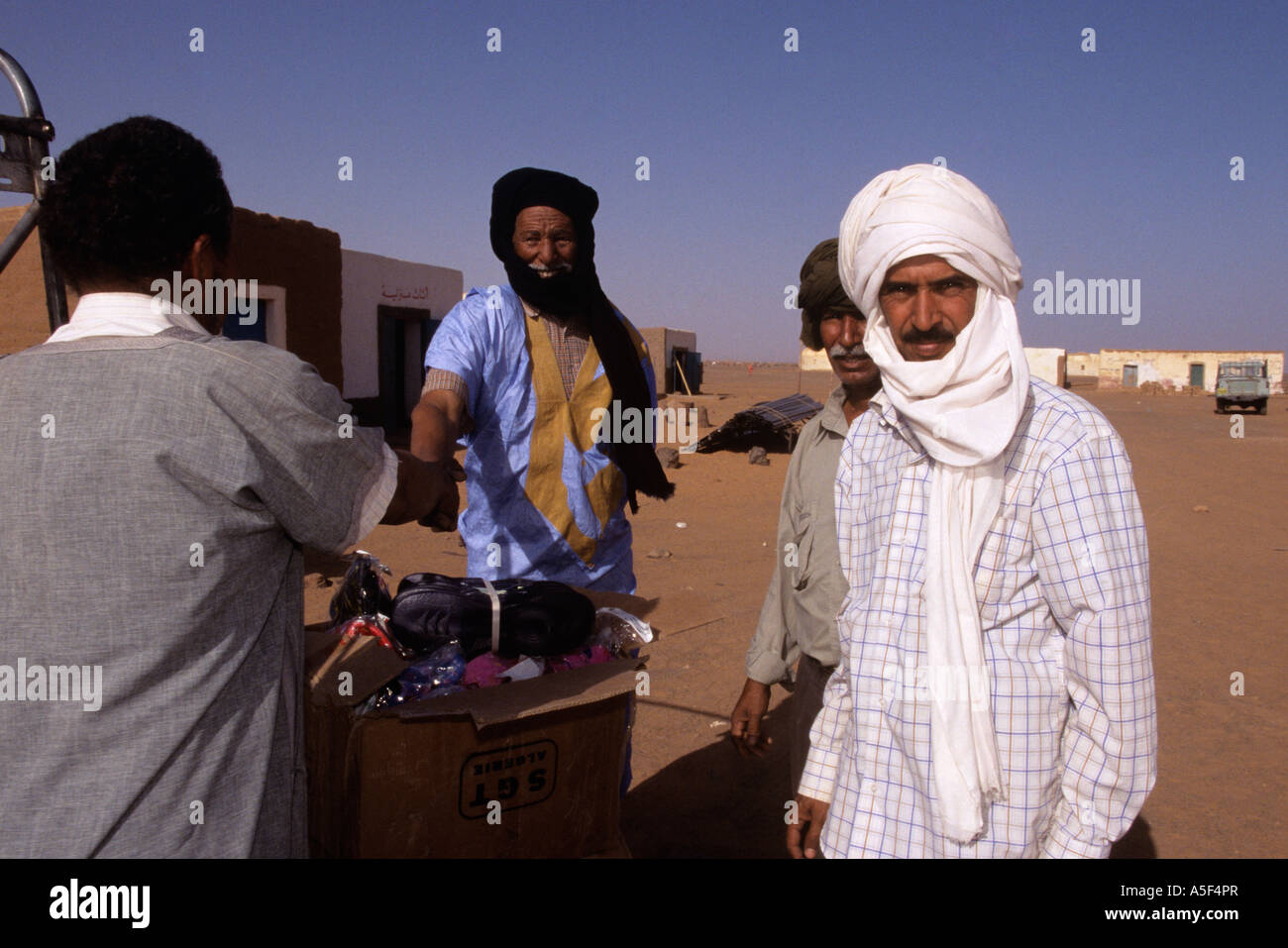 Muslim men in the Saharawi refugee camp in Tindouf Western Algeria - Stock Image